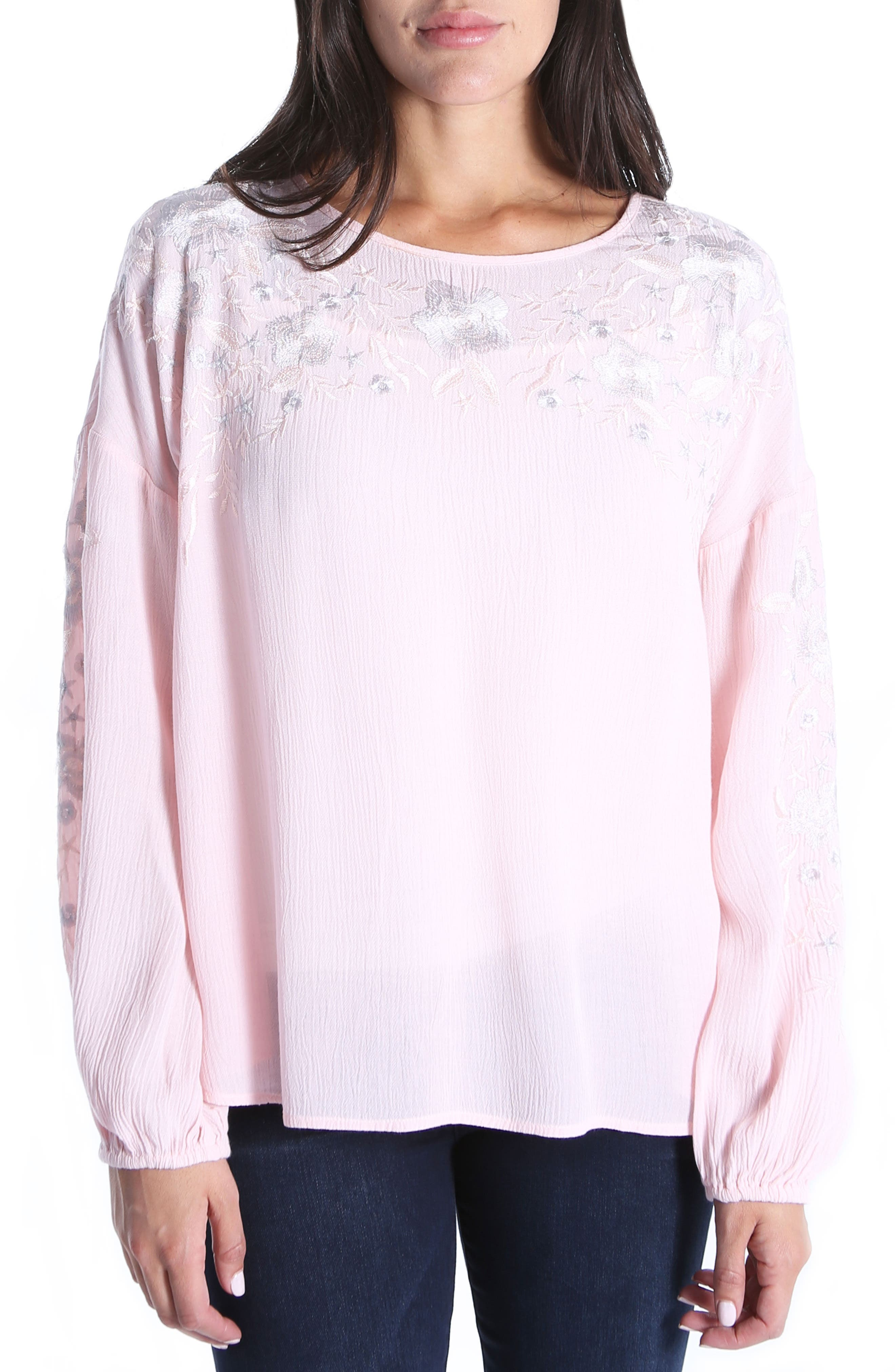 Ailiana Embroidered Blouse,                             Main thumbnail 1, color,                             Pink Bloom