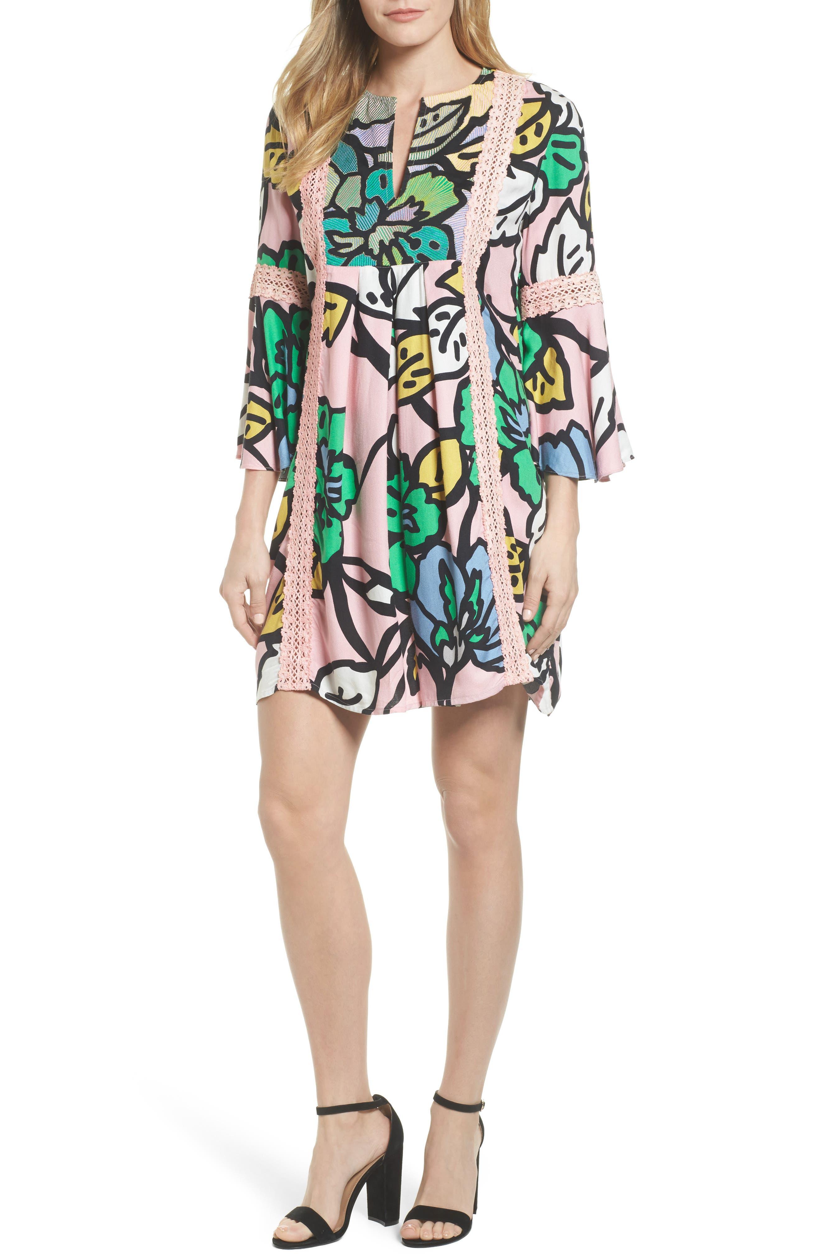 Ancona Mod Print Shift Dress,                         Main,                         color, Mod Pink Print
