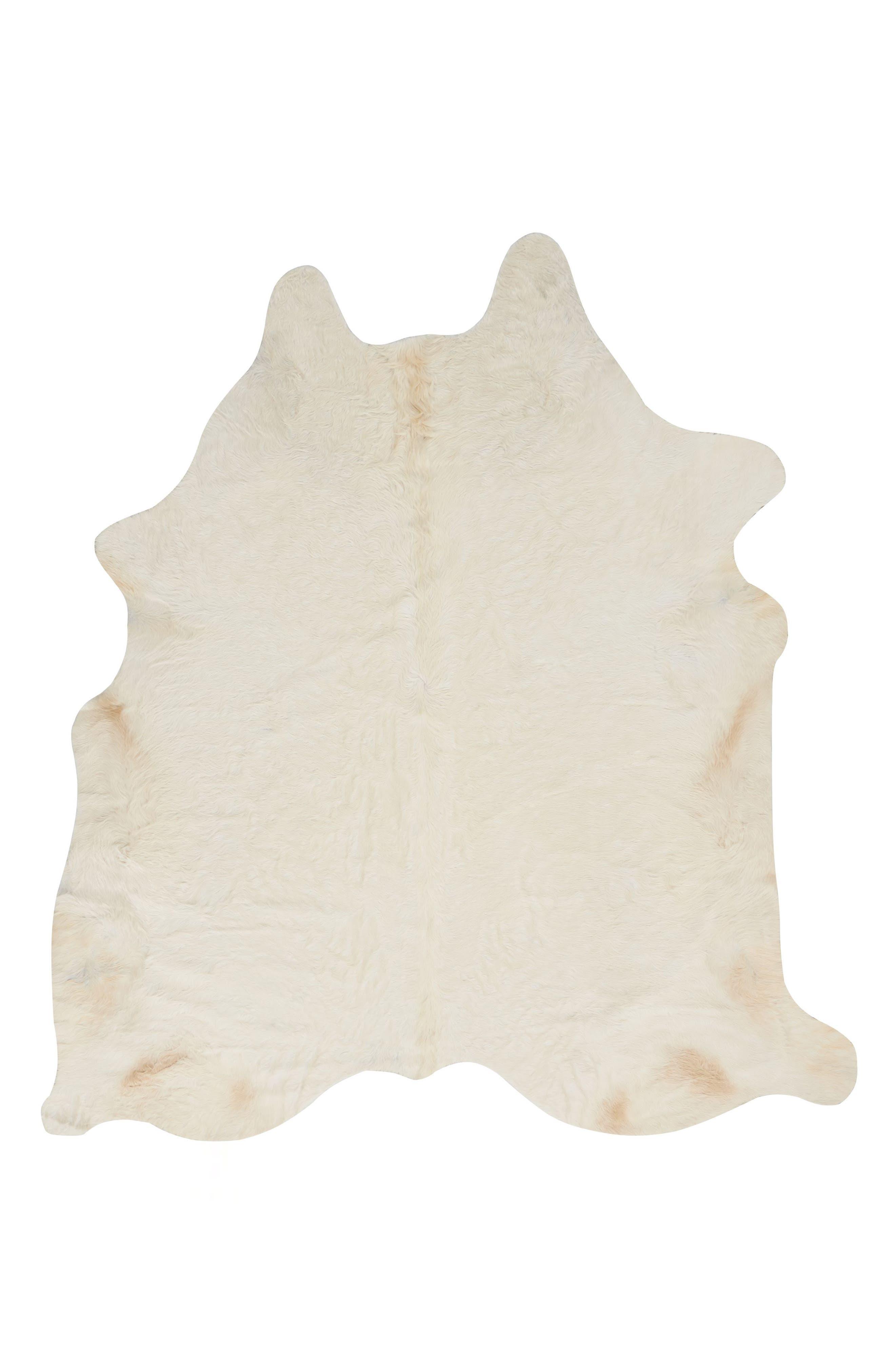 Cori Genuine Calf Hair Rug,                         Main,                         color, White
