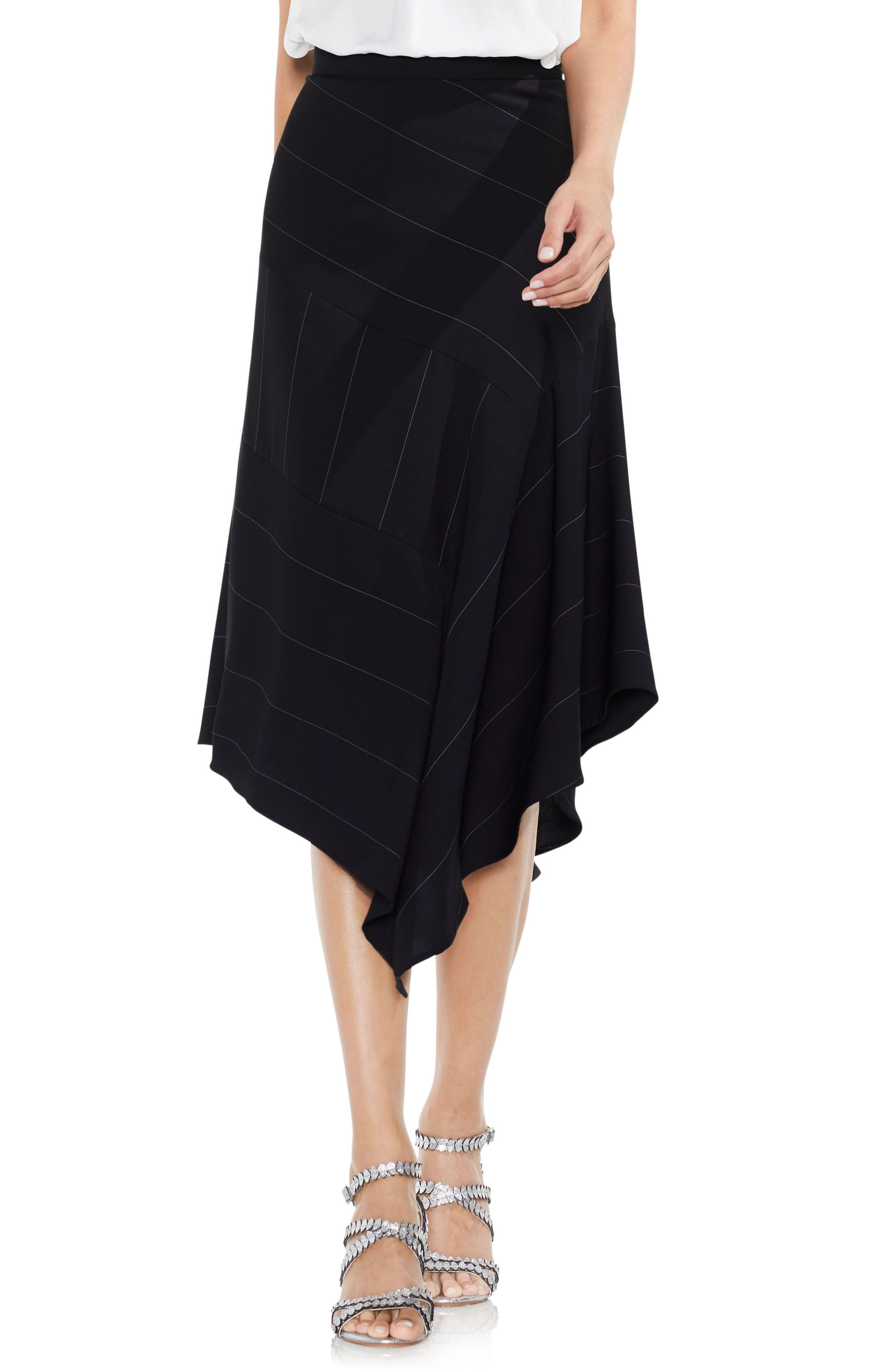 Chalk Stripe Asymmetrical Hem Skirt,                         Main,                         color, Rich Black