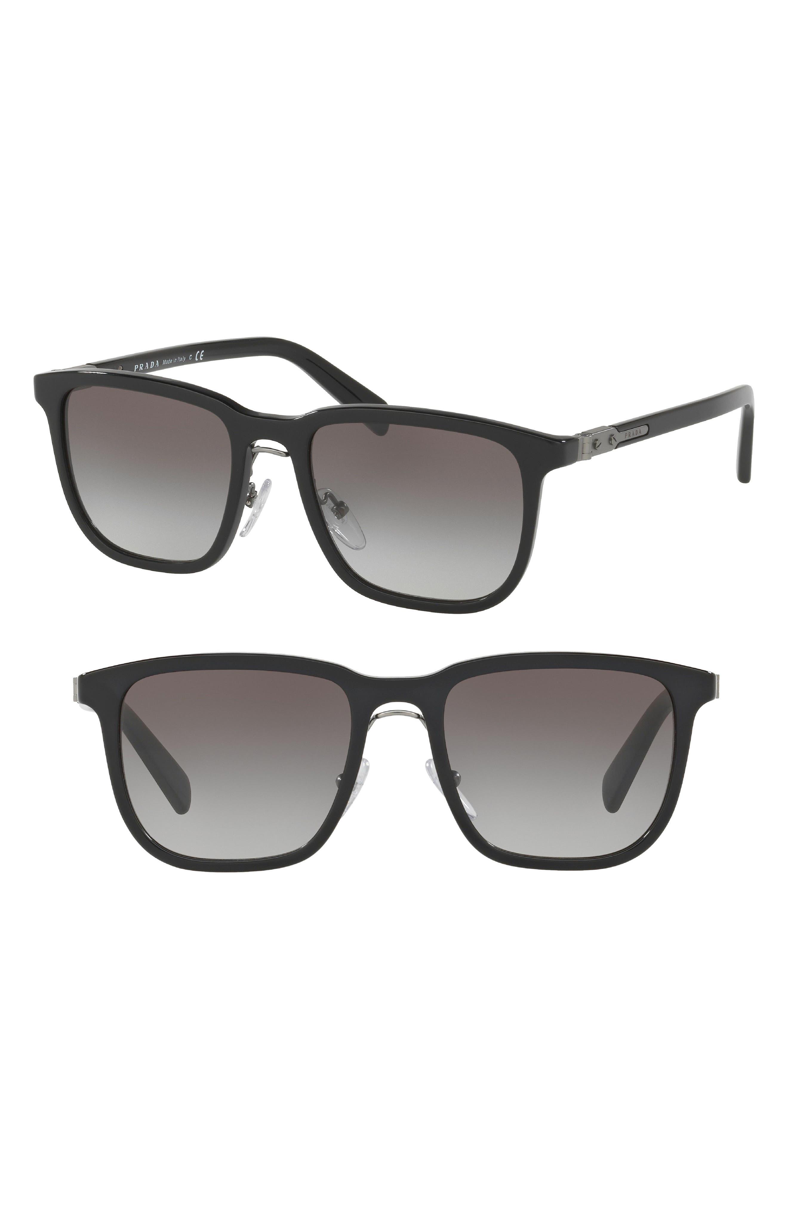 Prada 52mm Gradient Square Sunglasses