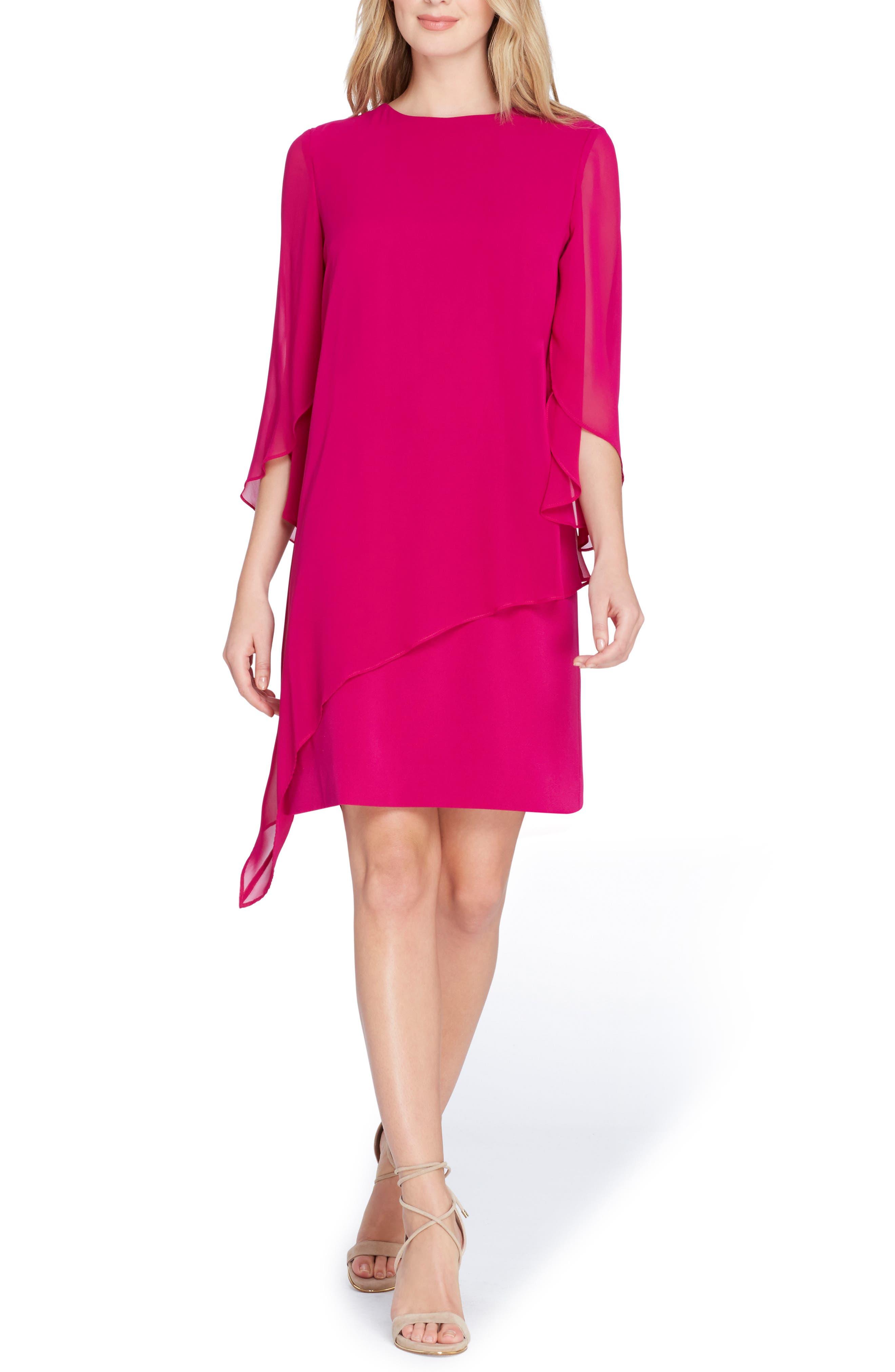 Chiffon Overlay Shift Dress,                             Main thumbnail 1, color,                             Magenta