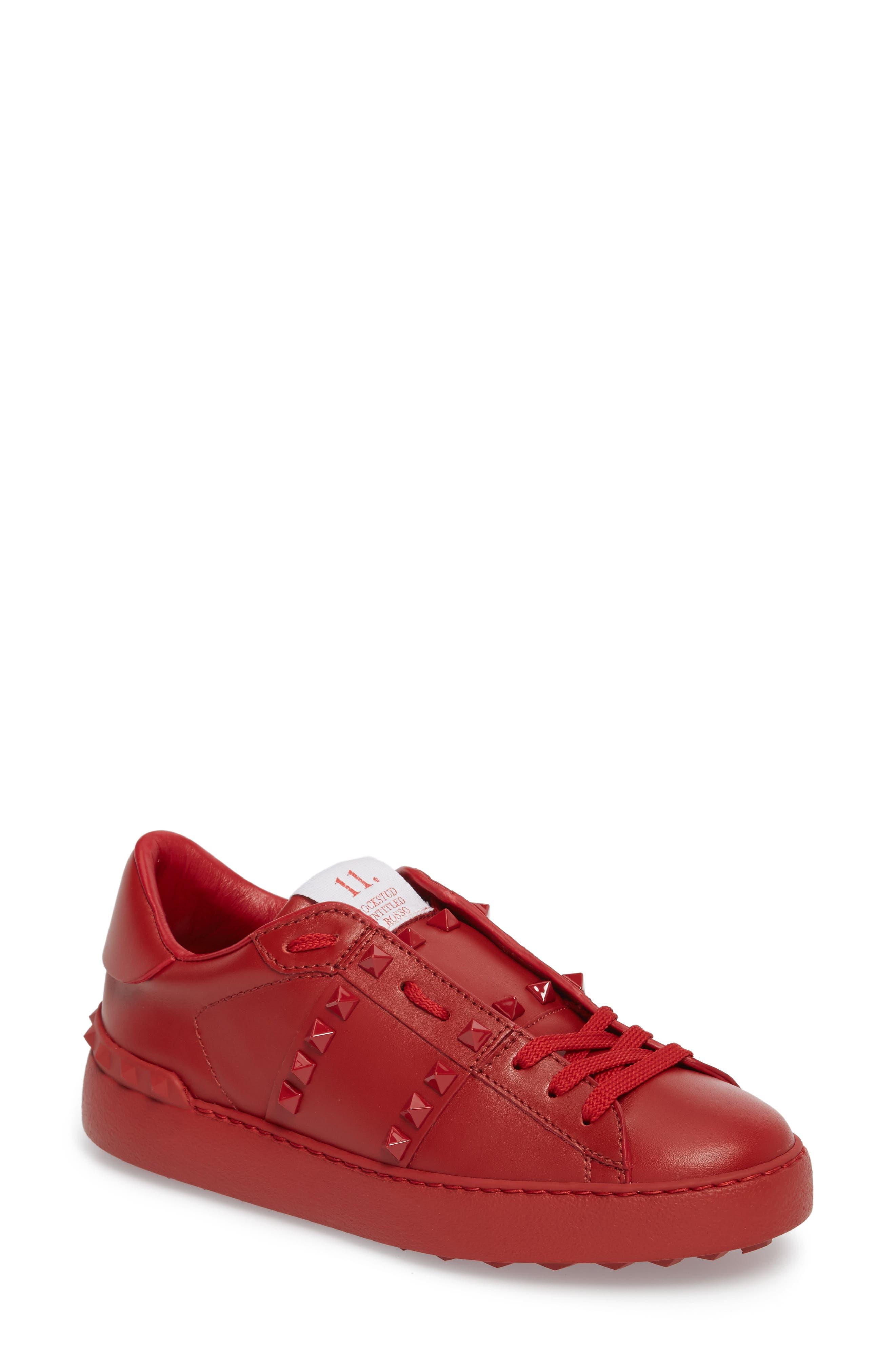 Rockstud Sneaker,                             Main thumbnail 1, color,                             Red