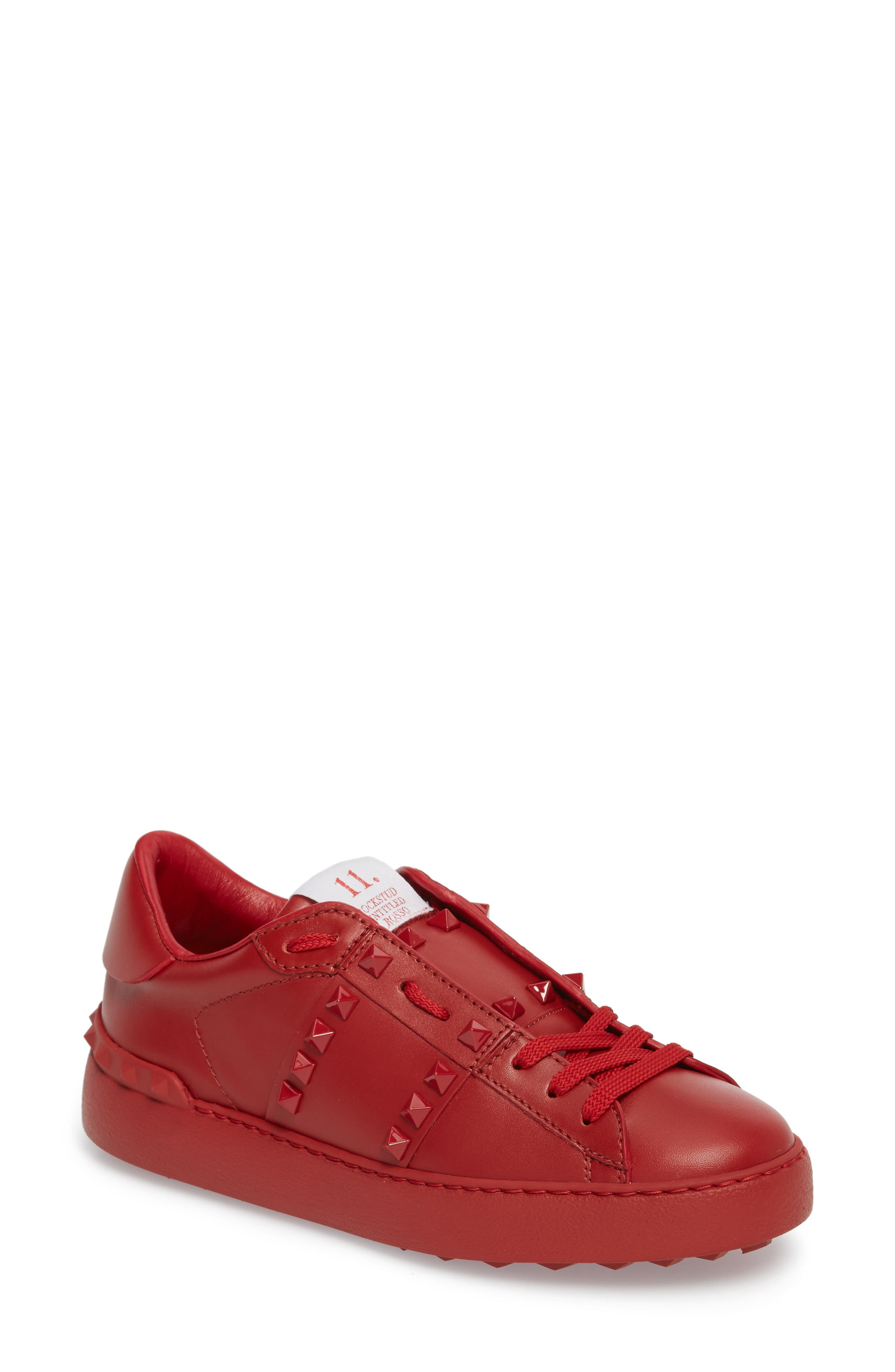 Rockstud Sneaker,                         Main,                         color, Red
