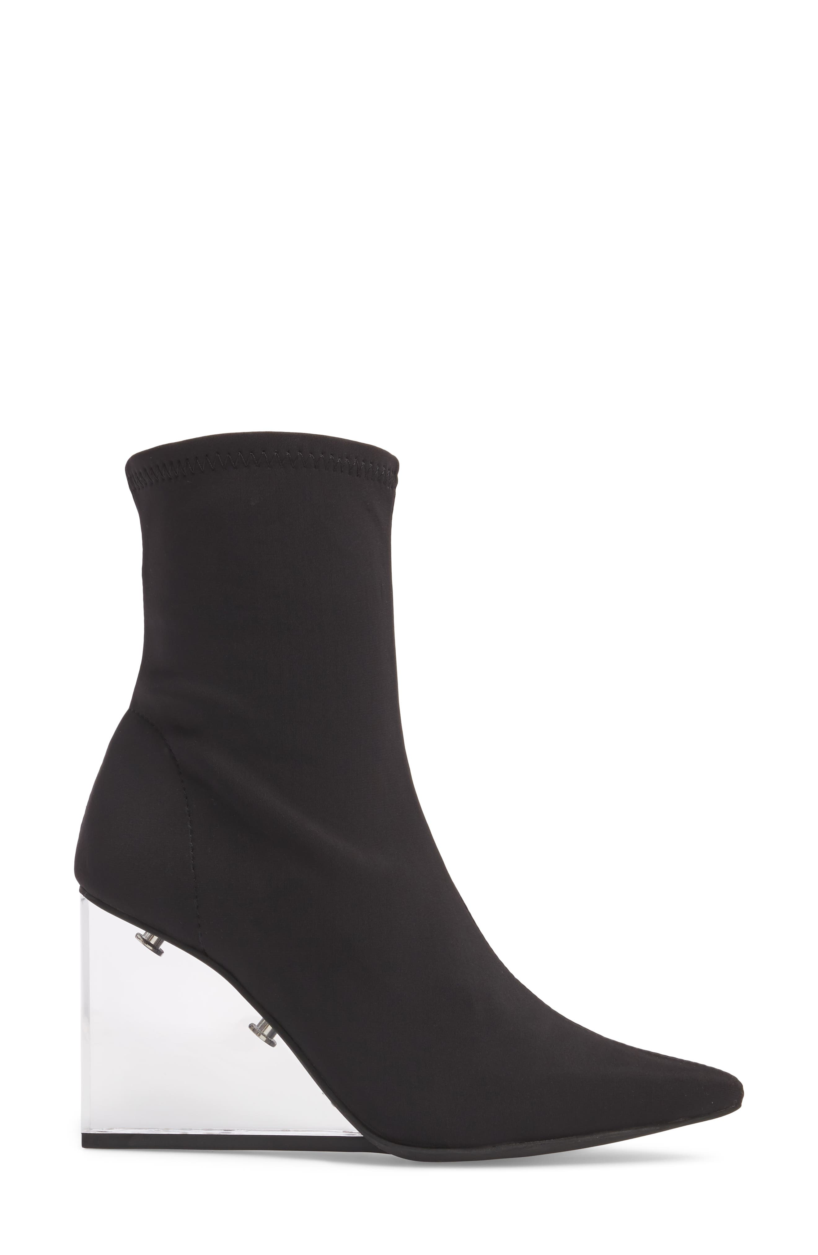 Siren Clear Wedge Sock Bootie,                             Alternate thumbnail 3, color,                             Black Fabric