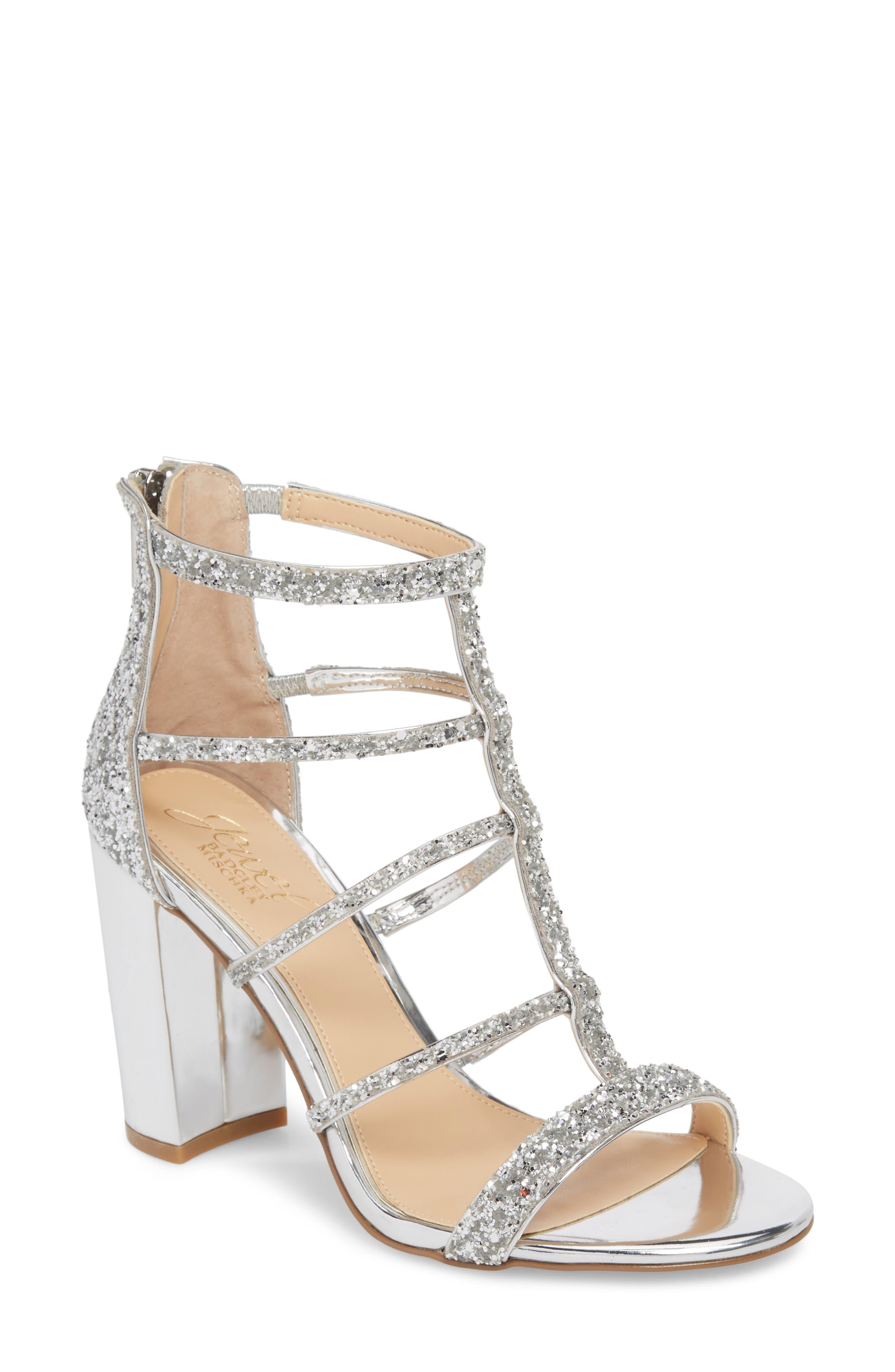 Main Image - Jewel Badgley Mischka Tiffy Glitter Sandal (Women)