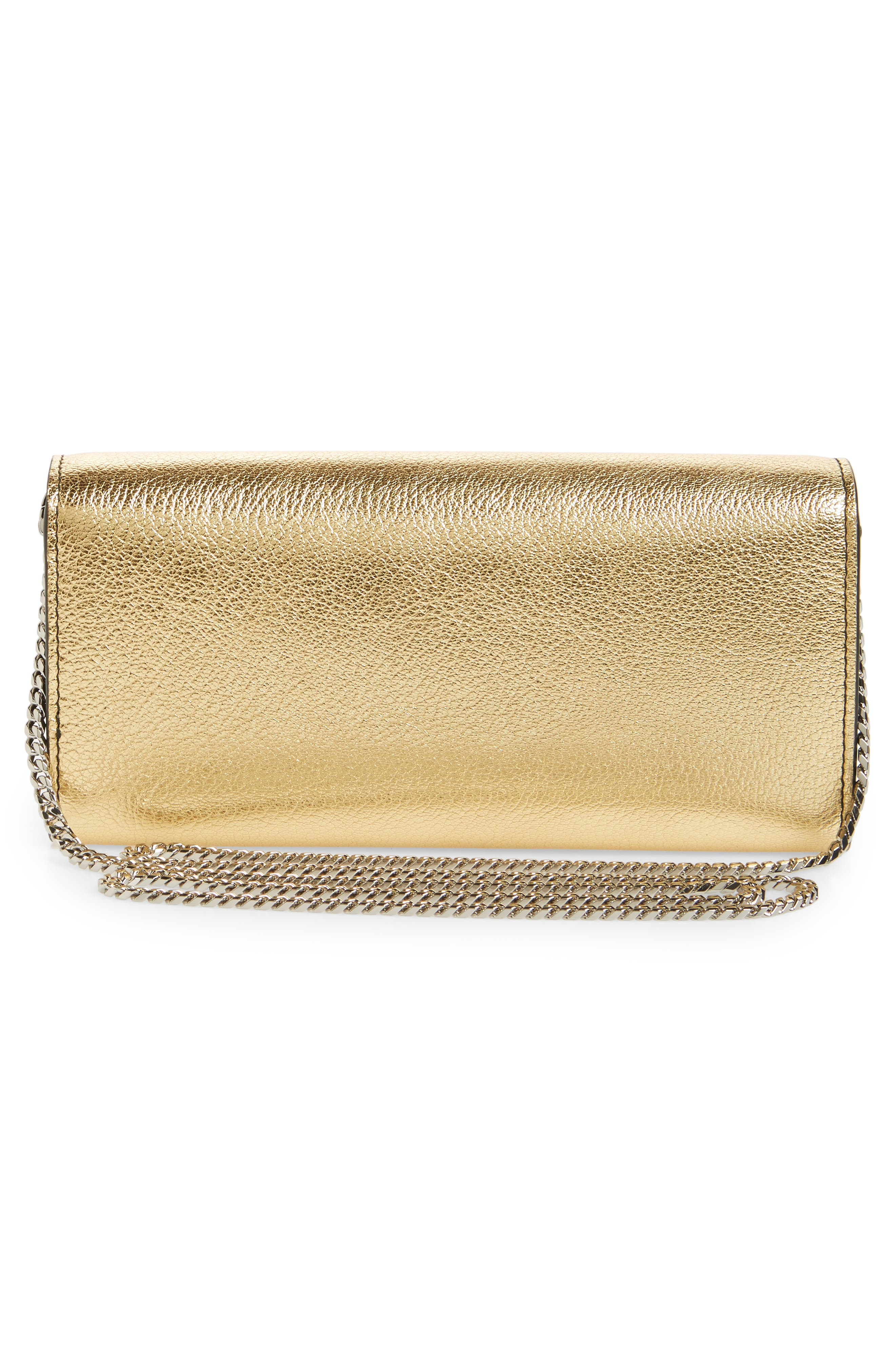 Metallic Leather Wallet on a Chain,                             Alternate thumbnail 3, color,                             Sahara Gold