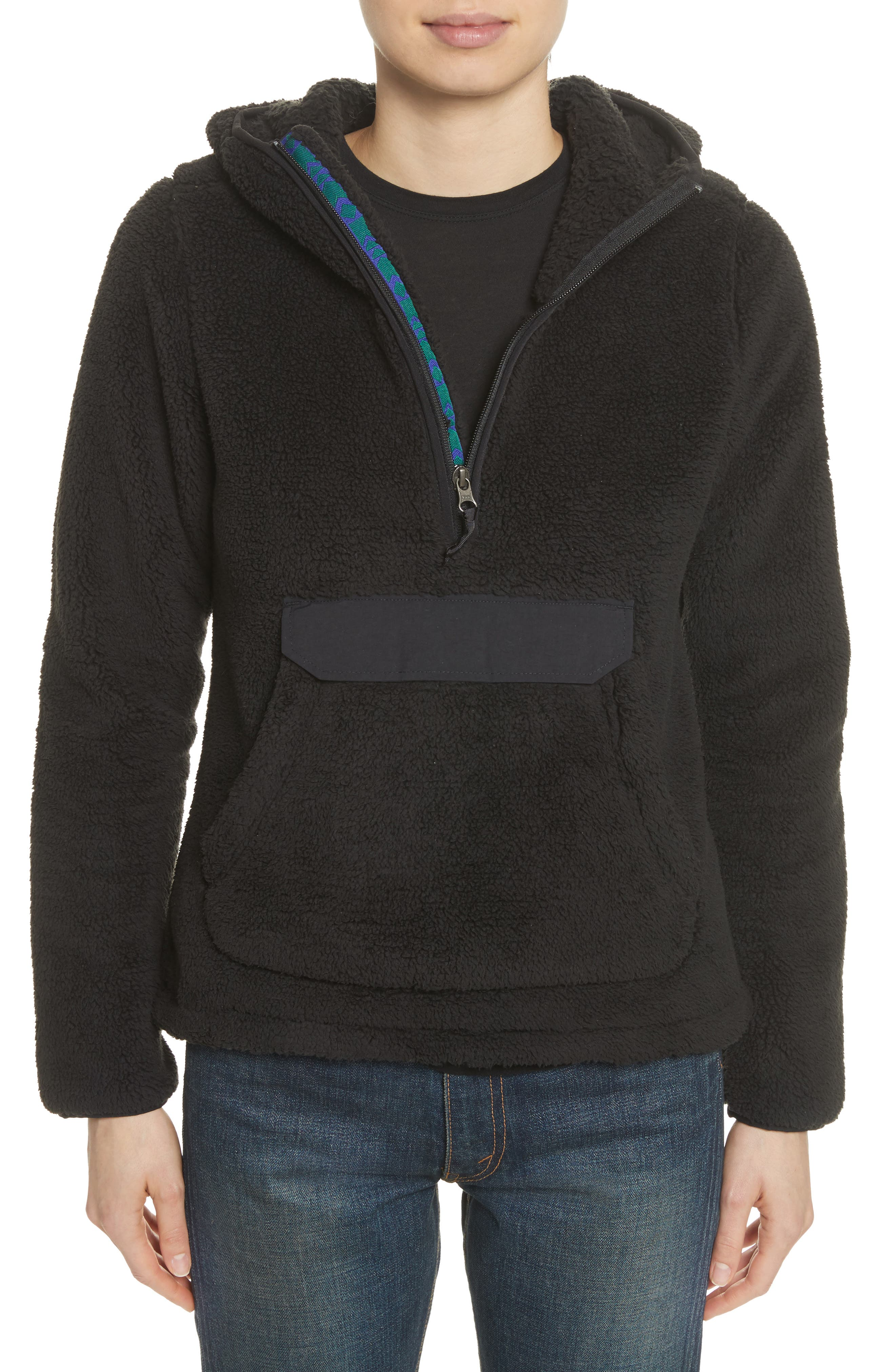 Campshire High Pile Fleece Pullover Hoodie,                             Alternate thumbnail 2, color,                             Tnf Black