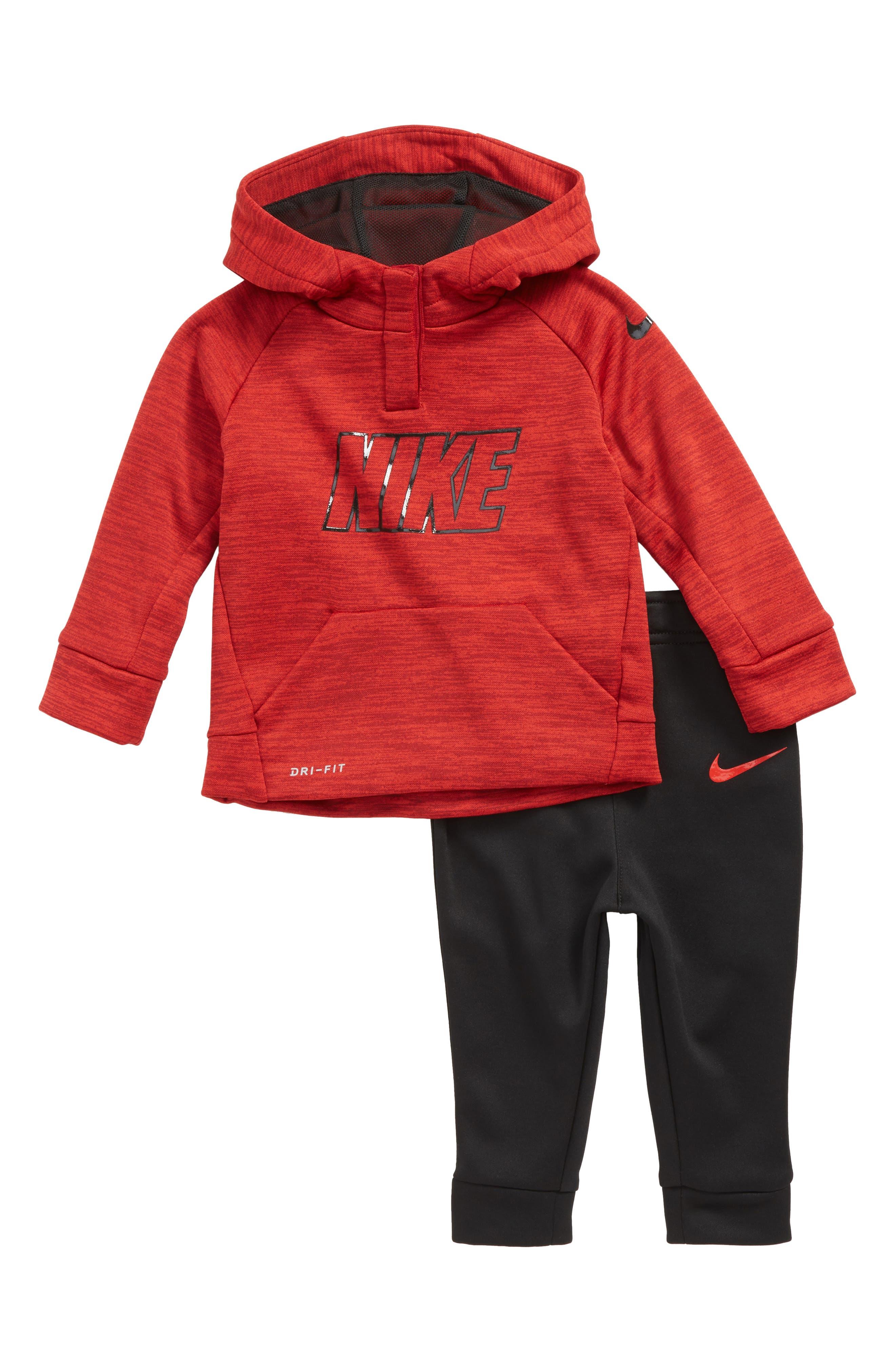 Alternate Image 1 Selected - Nike Logo Therma-FIT Fleece Hoodie & Pants Set (Baby Boys)