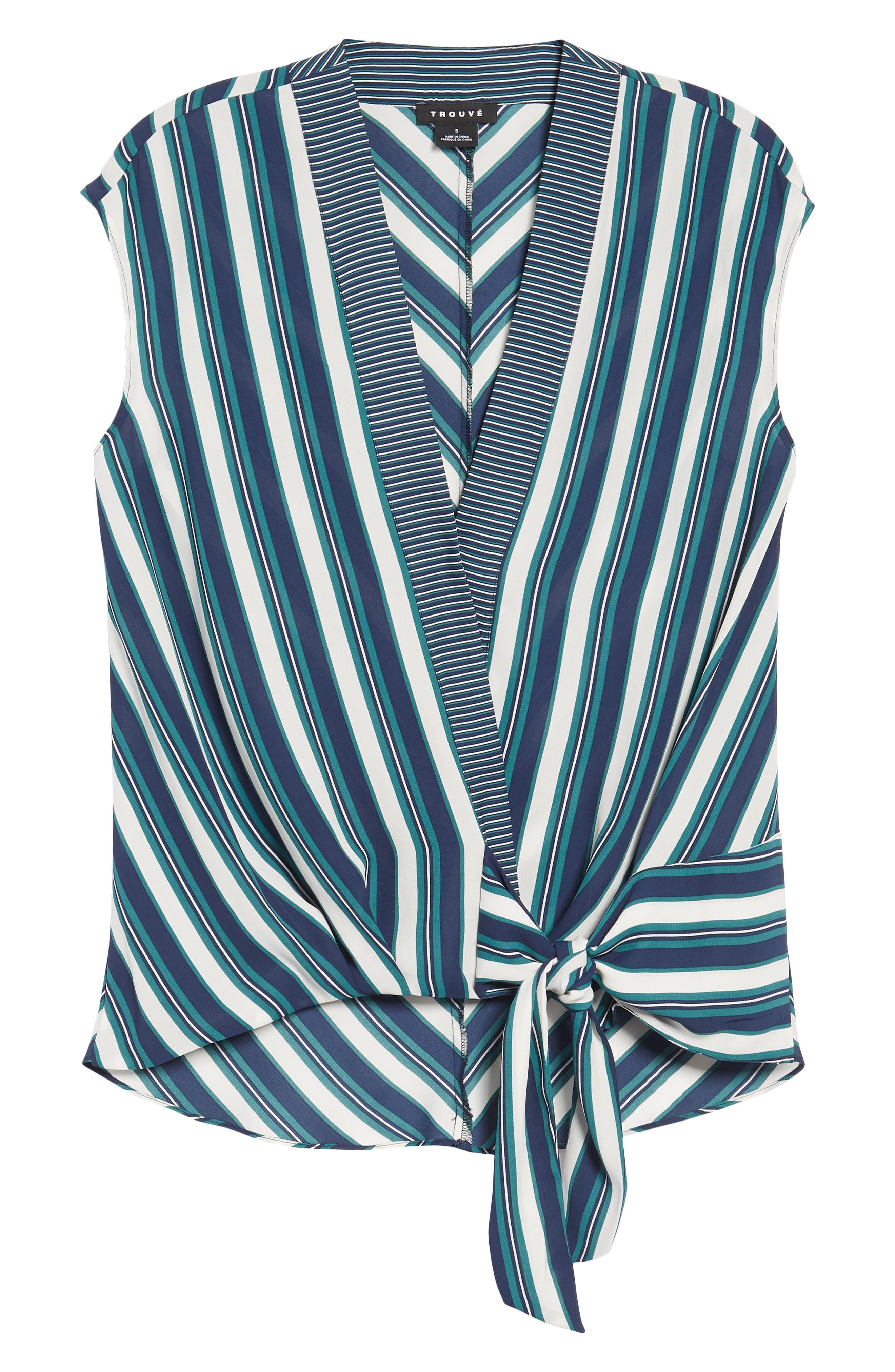 Stripe Wrap Top,                             Alternate thumbnail 6, color,                             Green Berry Marla Stripe