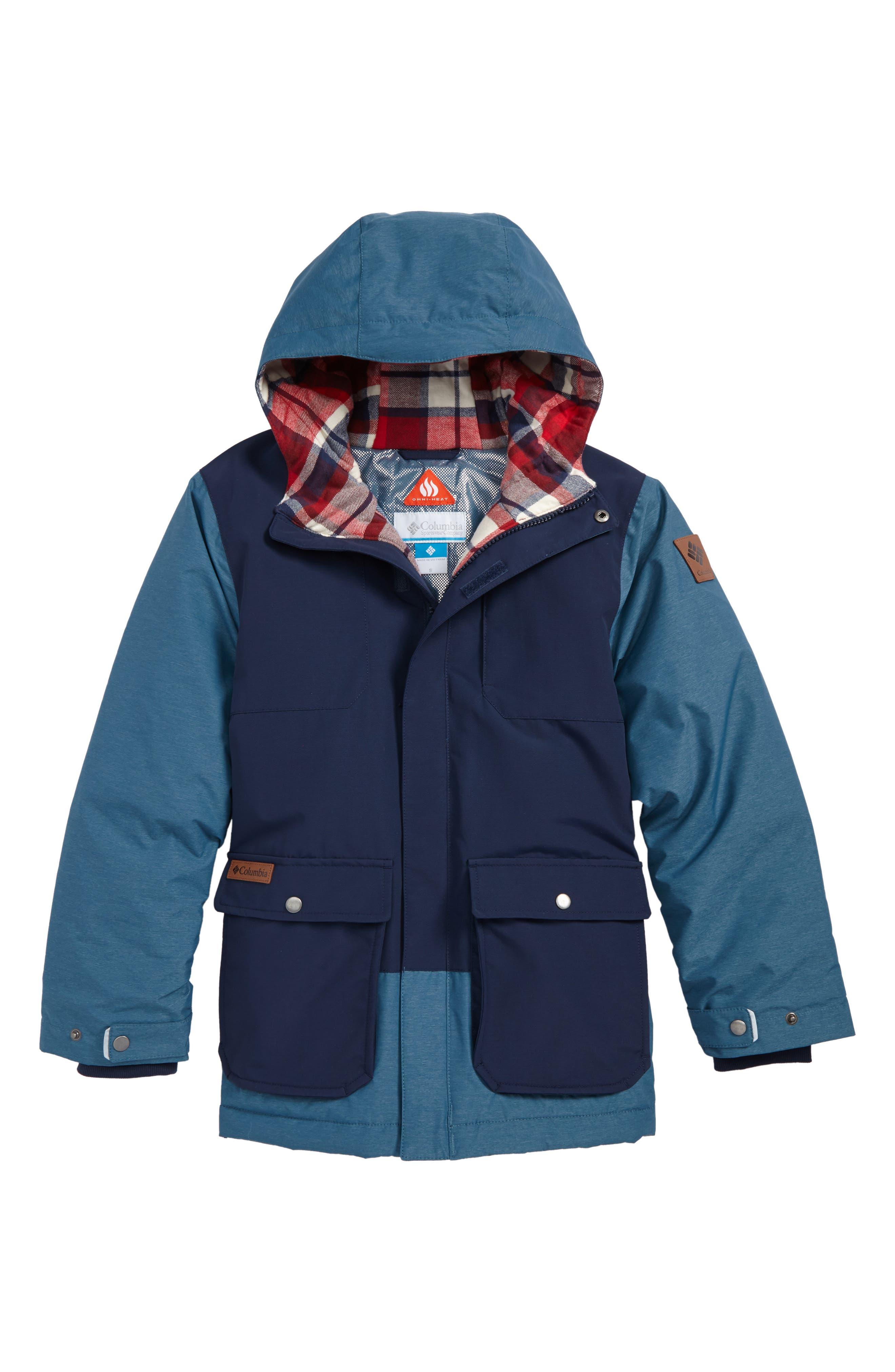 Lost Brook Water Resistant Omni Heat Jacket,                         Main,                         color, Collegiate Navy Blue Heron