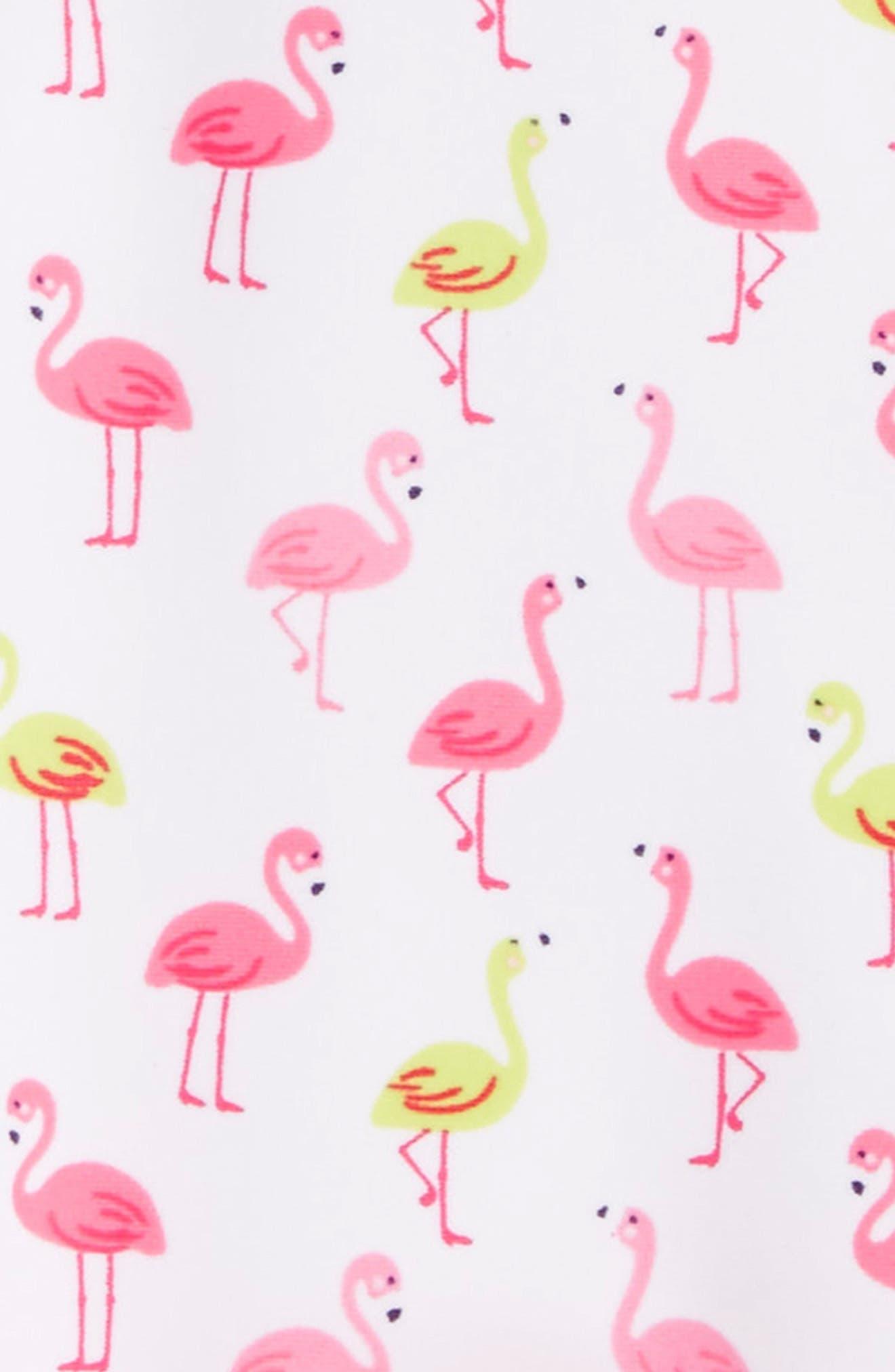 Flamingo Print One-Piece Swimsuit,                             Alternate thumbnail 2, color,                             White Print