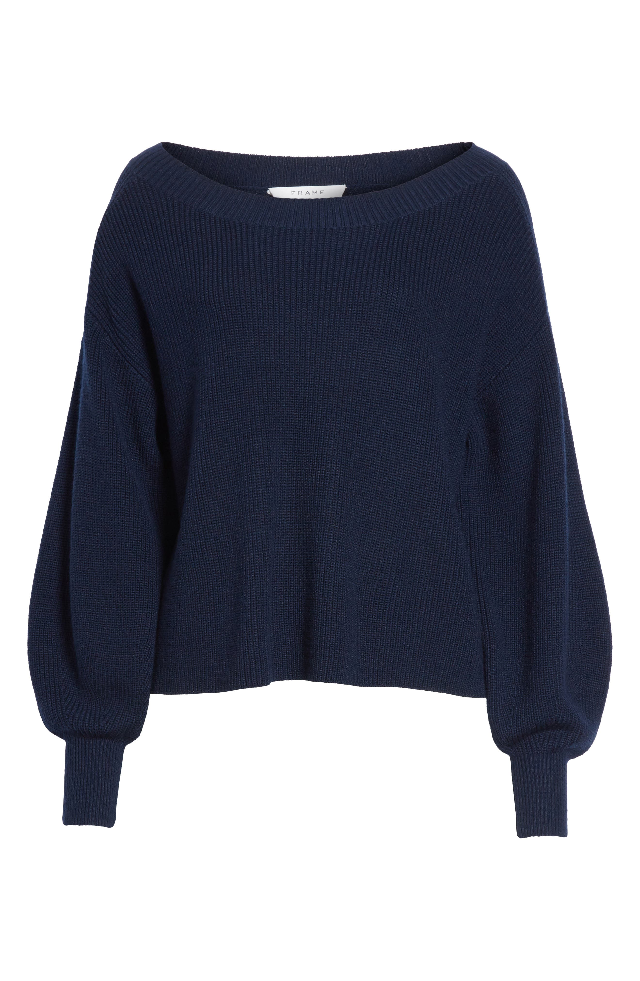Bateau Neck Merino Wool Blend Sweater,                             Alternate thumbnail 7, color,                             Dark Navy