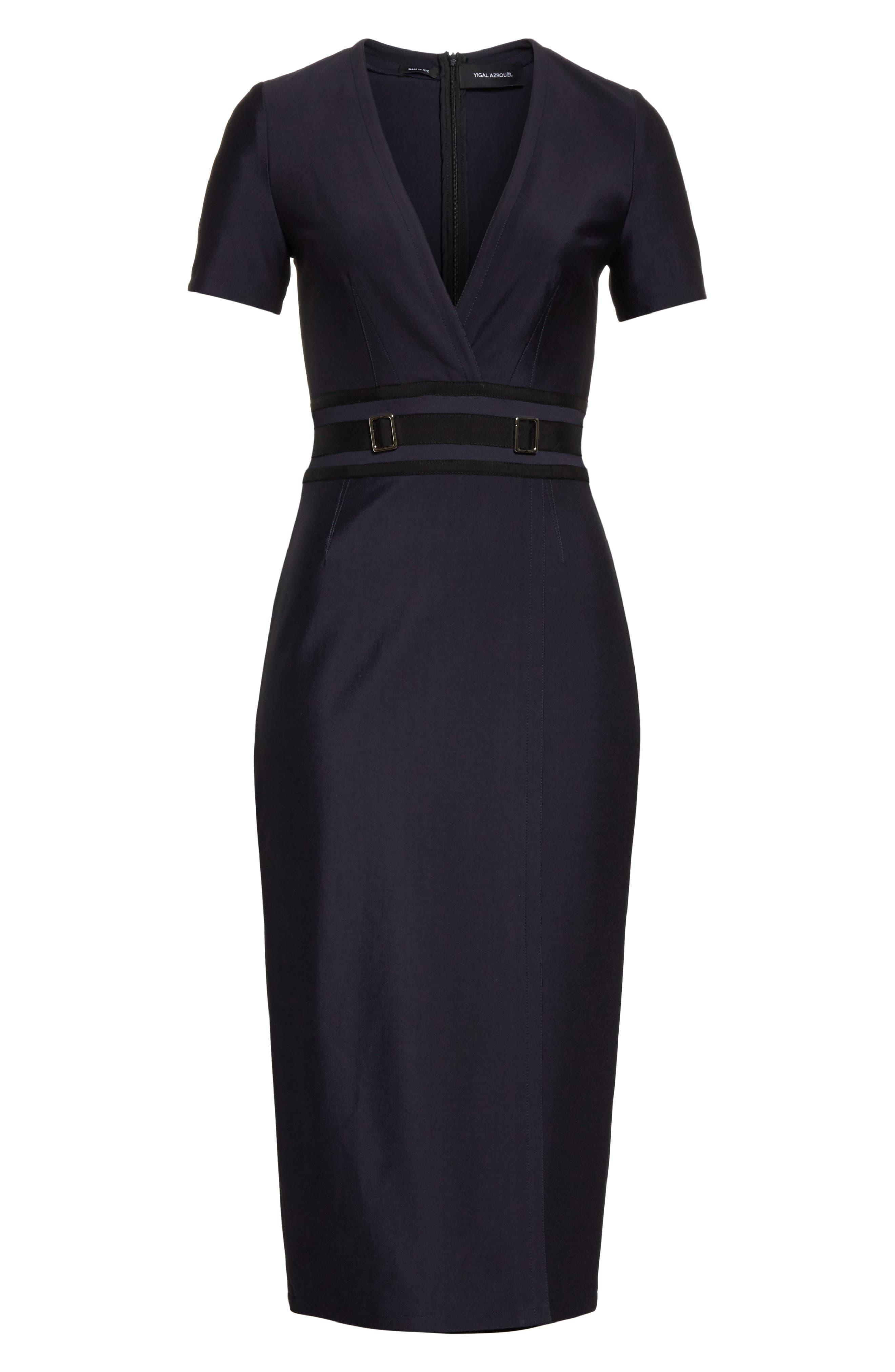 Belt Waist Sheath Dress,                             Alternate thumbnail 7, color,                             Navy Blue