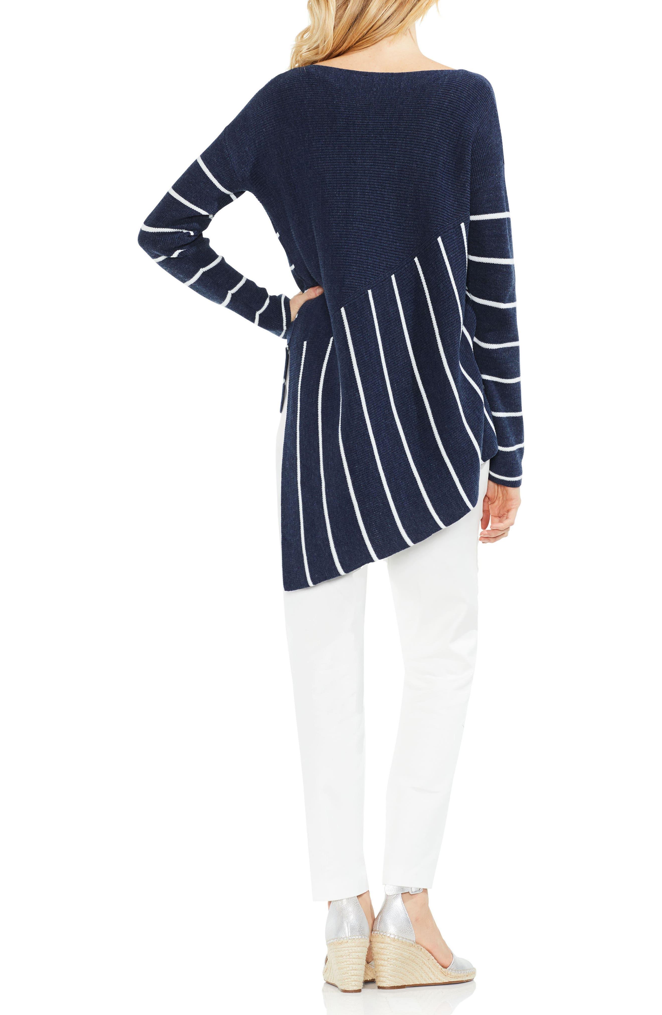 Asymmetrical Hem Stripe Sweater,                             Alternate thumbnail 4, color,                             Indigo Night Heather