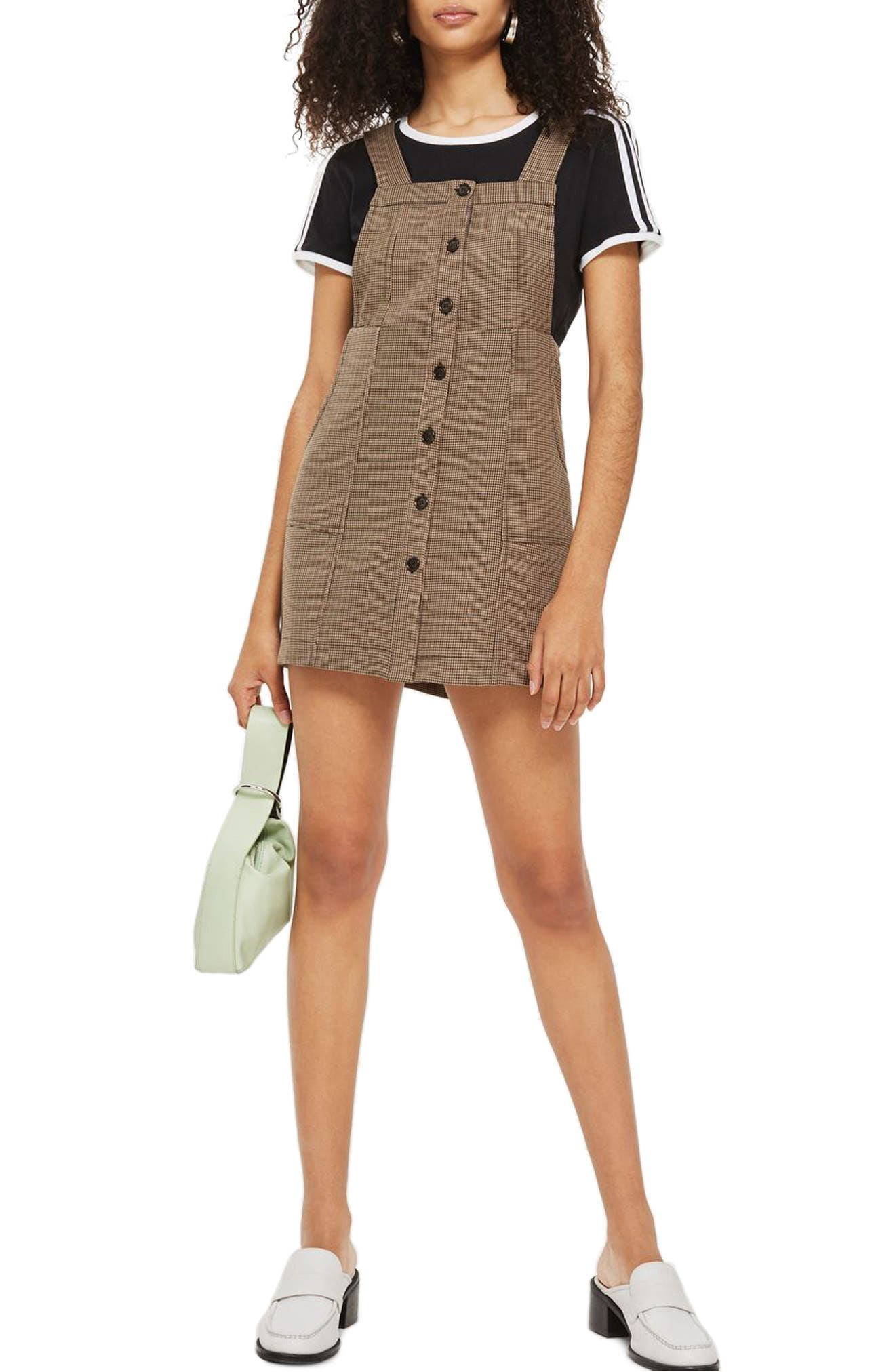Topshop Heritage Check Pinafore Dress