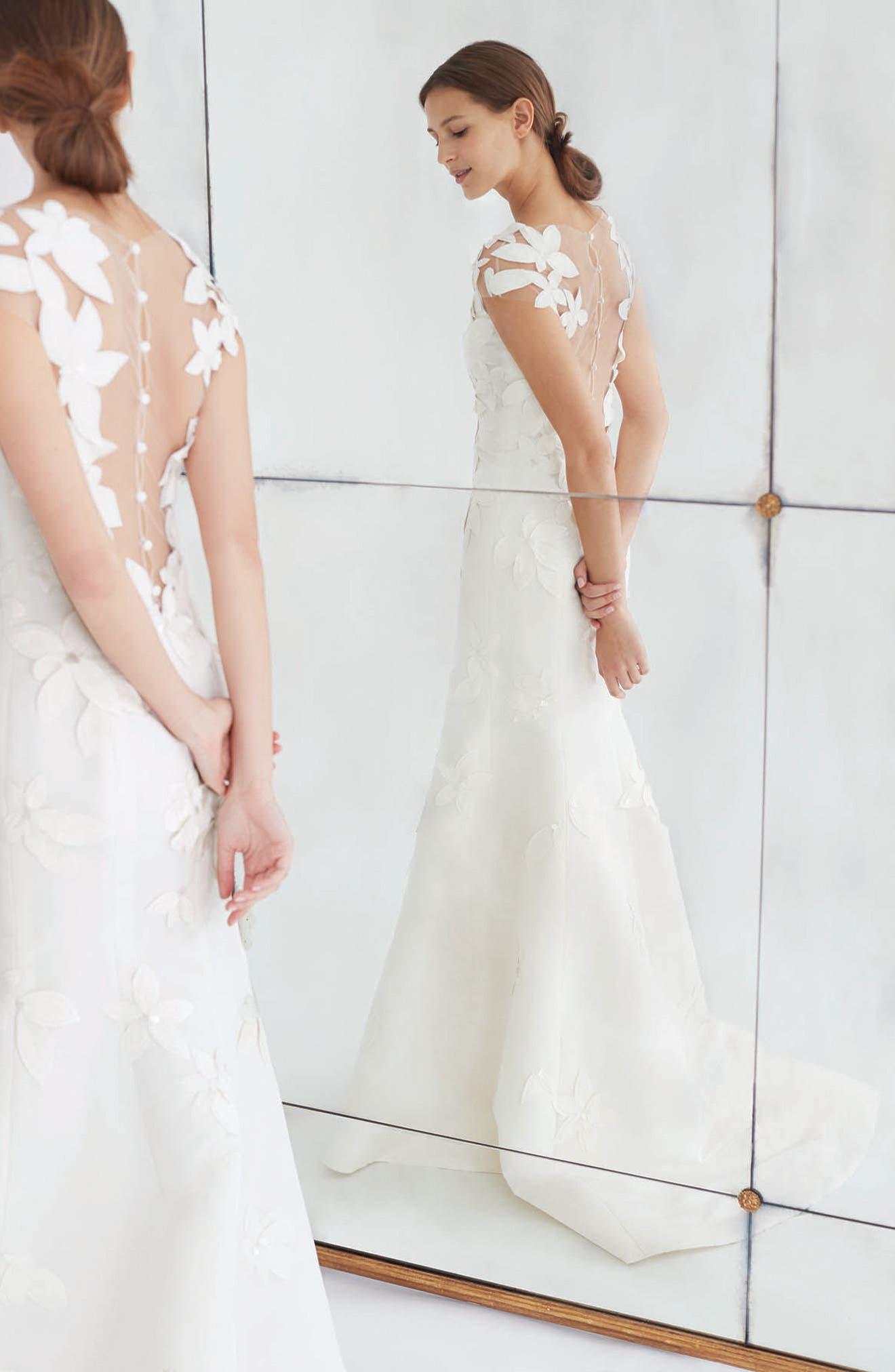 Alternate Image 2  - Carolina Herrera Gretchen Embroidered Faille Trumpet Gown