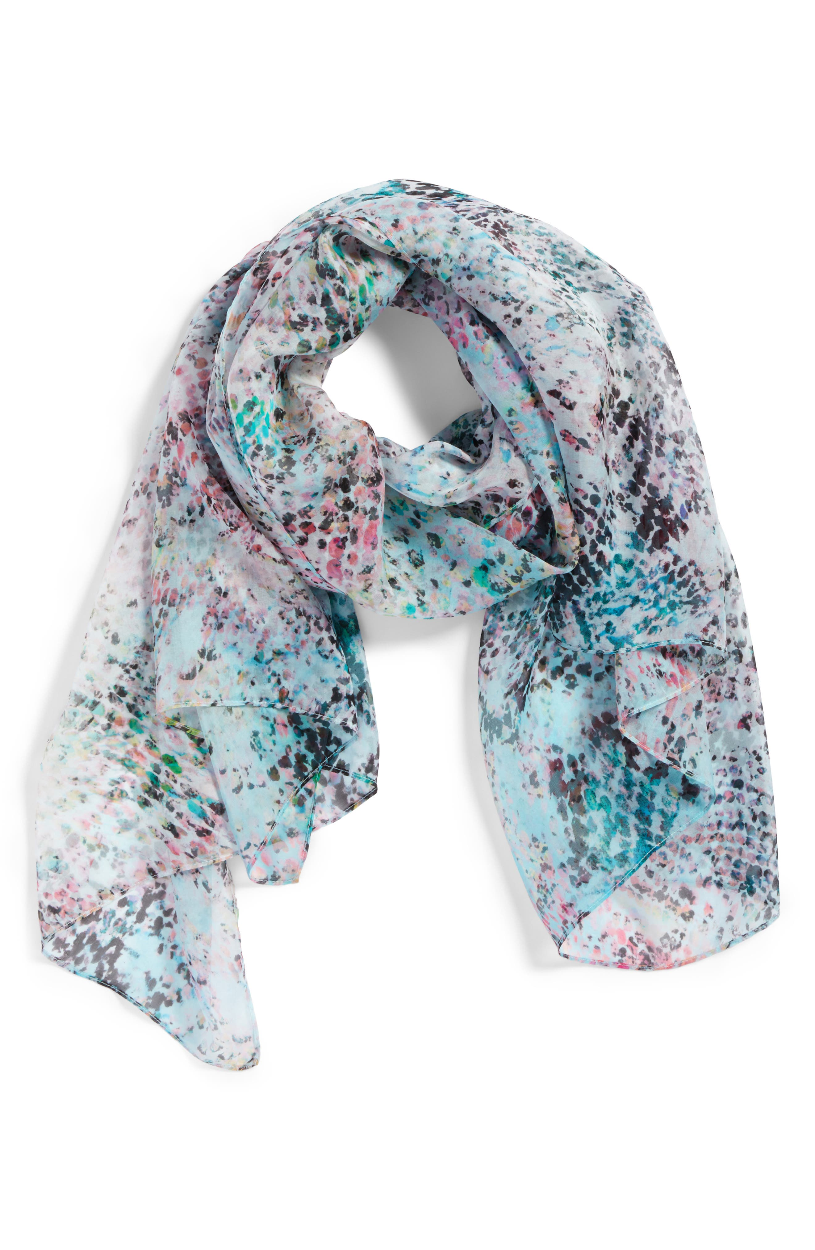 Silk Chiffon Oblong Scarf,                             Alternate thumbnail 2, color,                             Teal Warped Snake