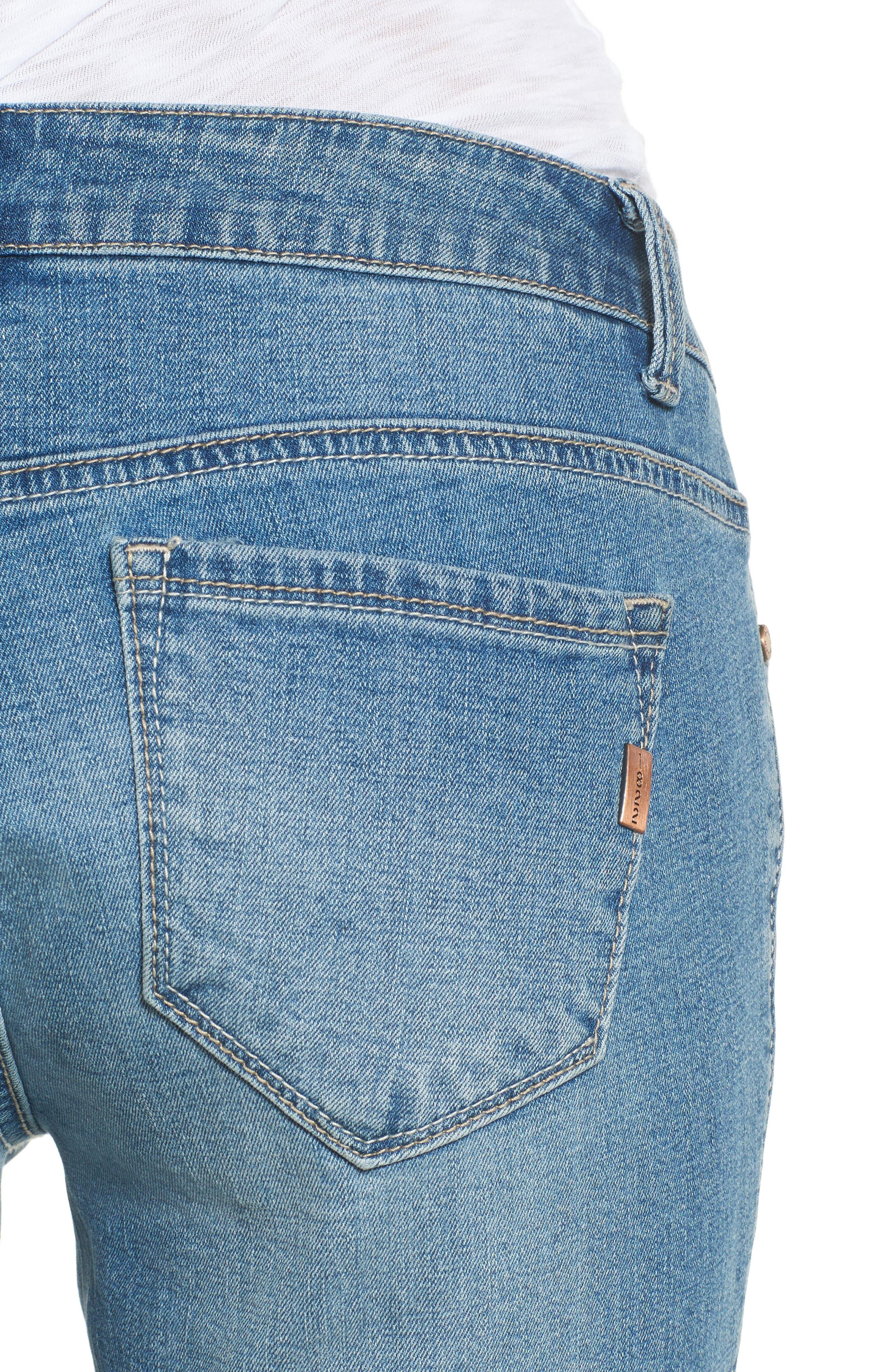 Rip & Repair Ankle Skinny Jeans,                             Alternate thumbnail 4, color,                             Pearl Jam