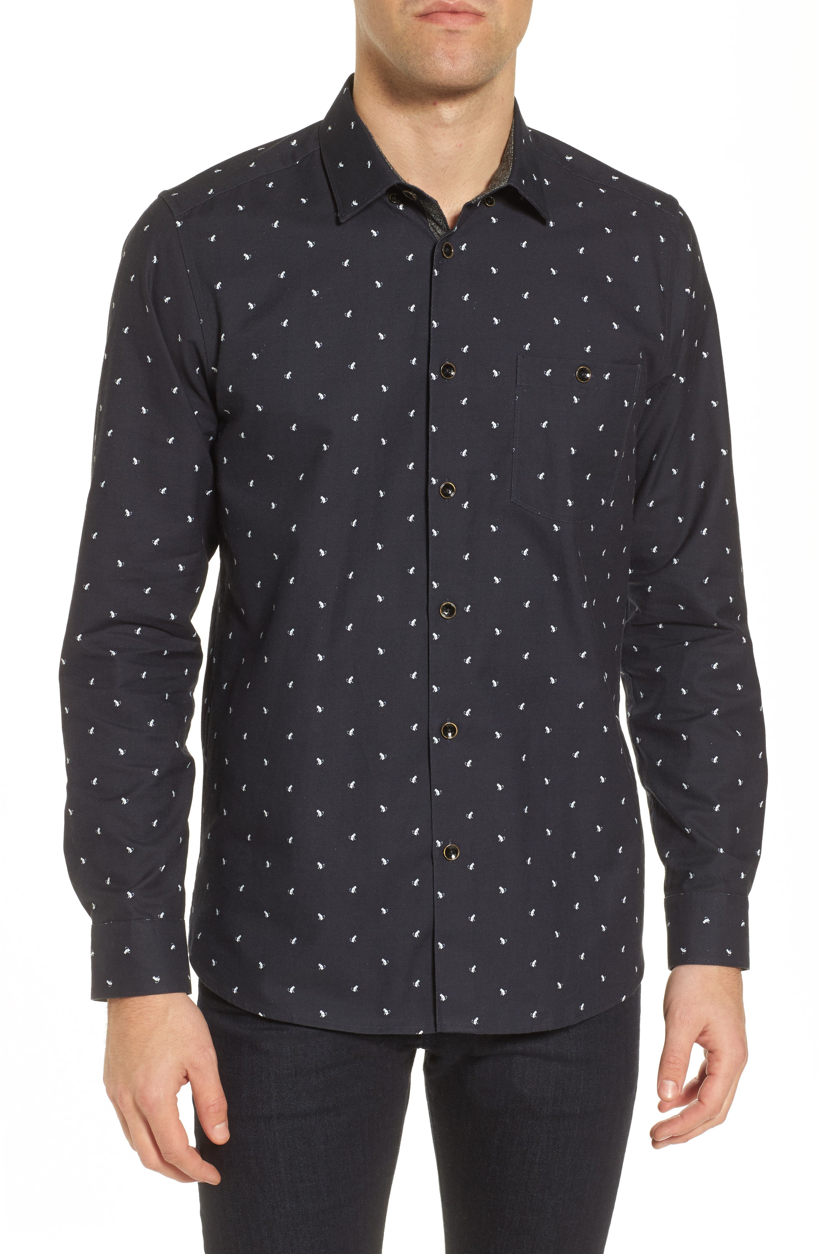 Orense Slim Fit Monkey Embroidered Sport Shirt,                         Main,                         color, Navy