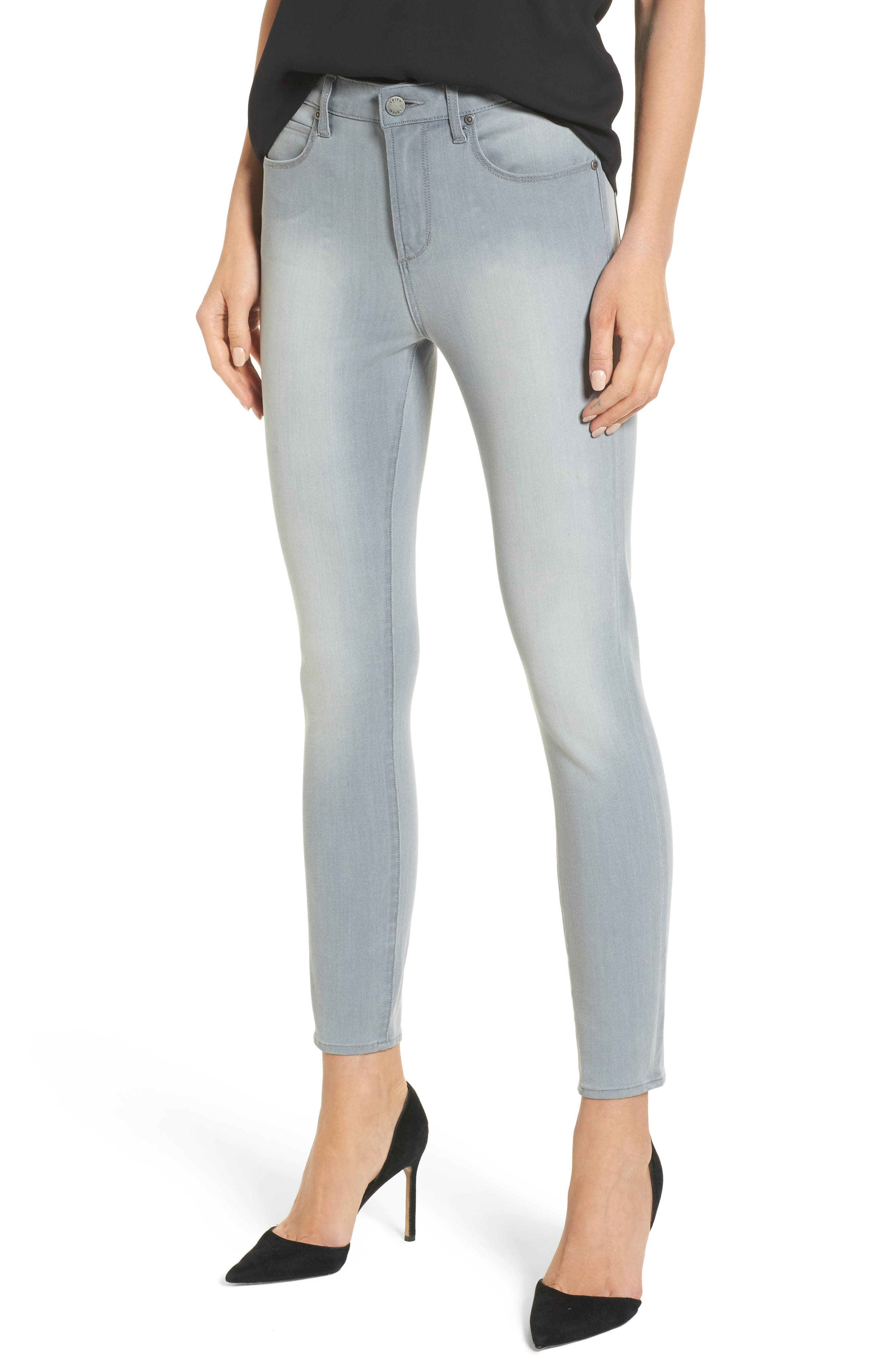 High Waist Skinny Jeans,                         Main,                         color, Grey Wash