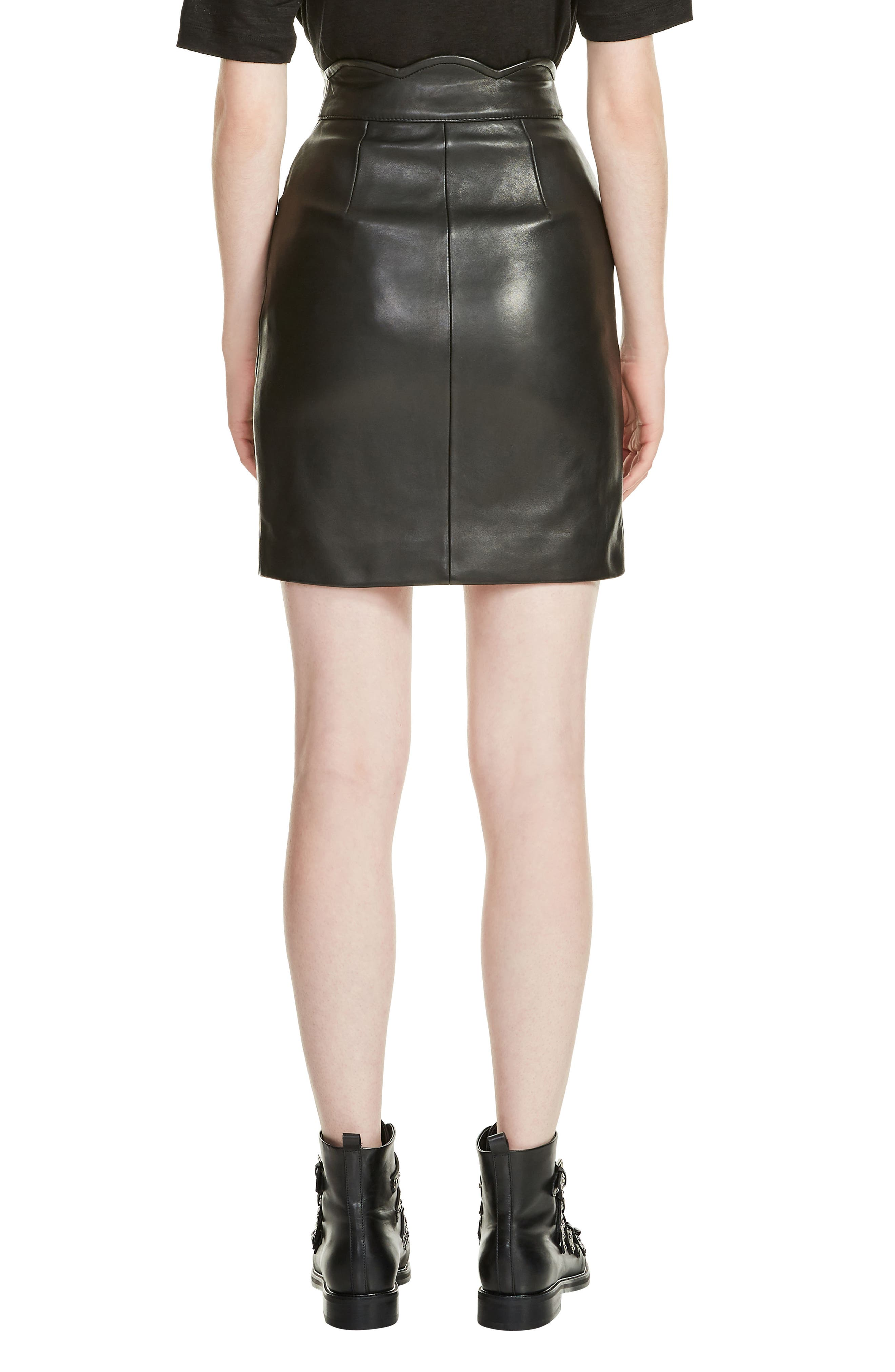 Journey Leather Miniskirt,                             Alternate thumbnail 2, color,                             Black 210
