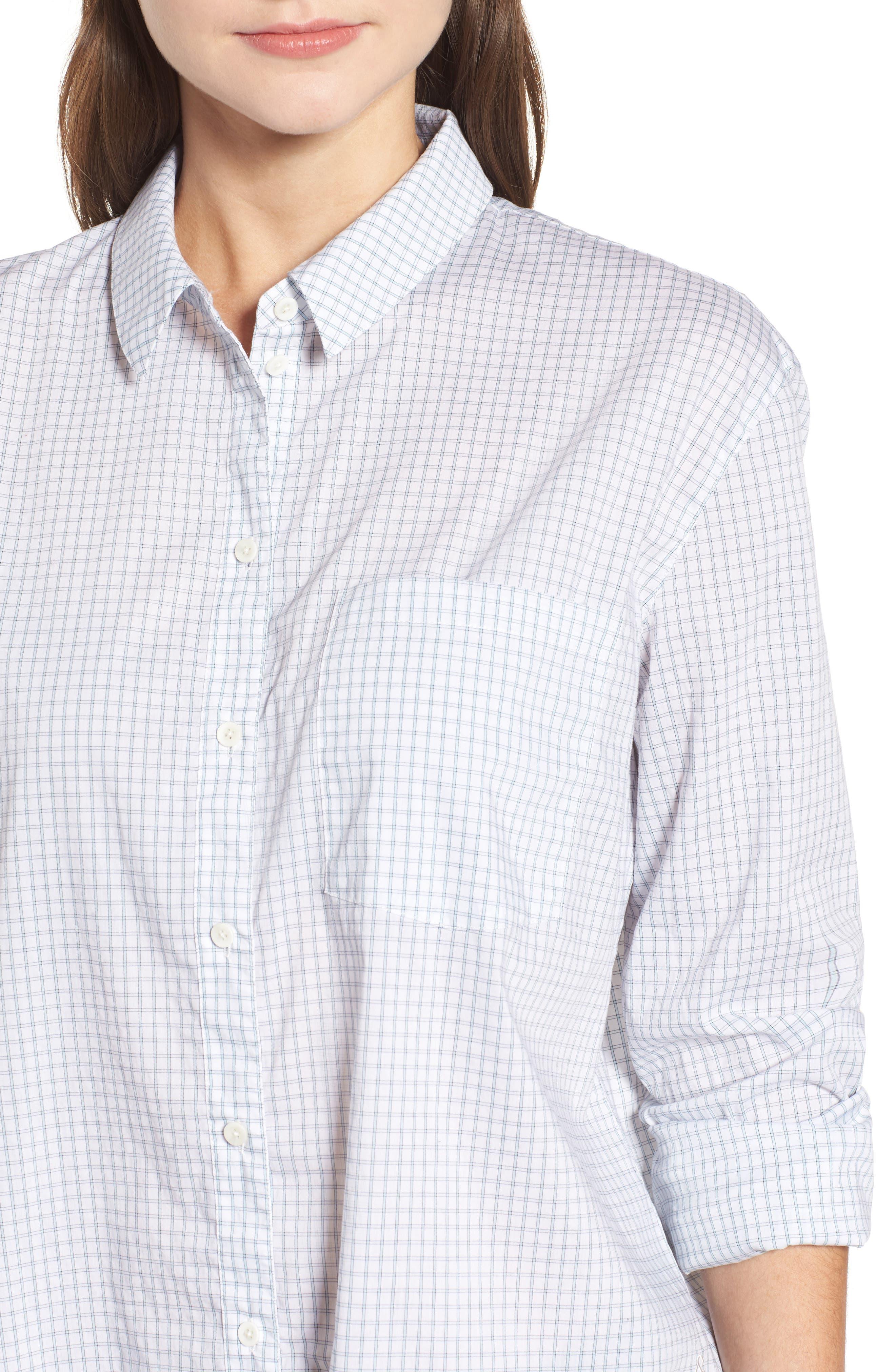 Oversize Check Shirt,                             Alternate thumbnail 4, color,                             White Blue Poplin Check