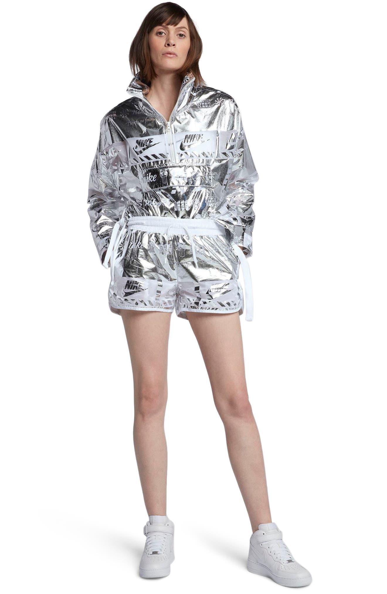 Sportswear Women's Metallic Shorts,                             Alternate thumbnail 8, color,                             White/ White
