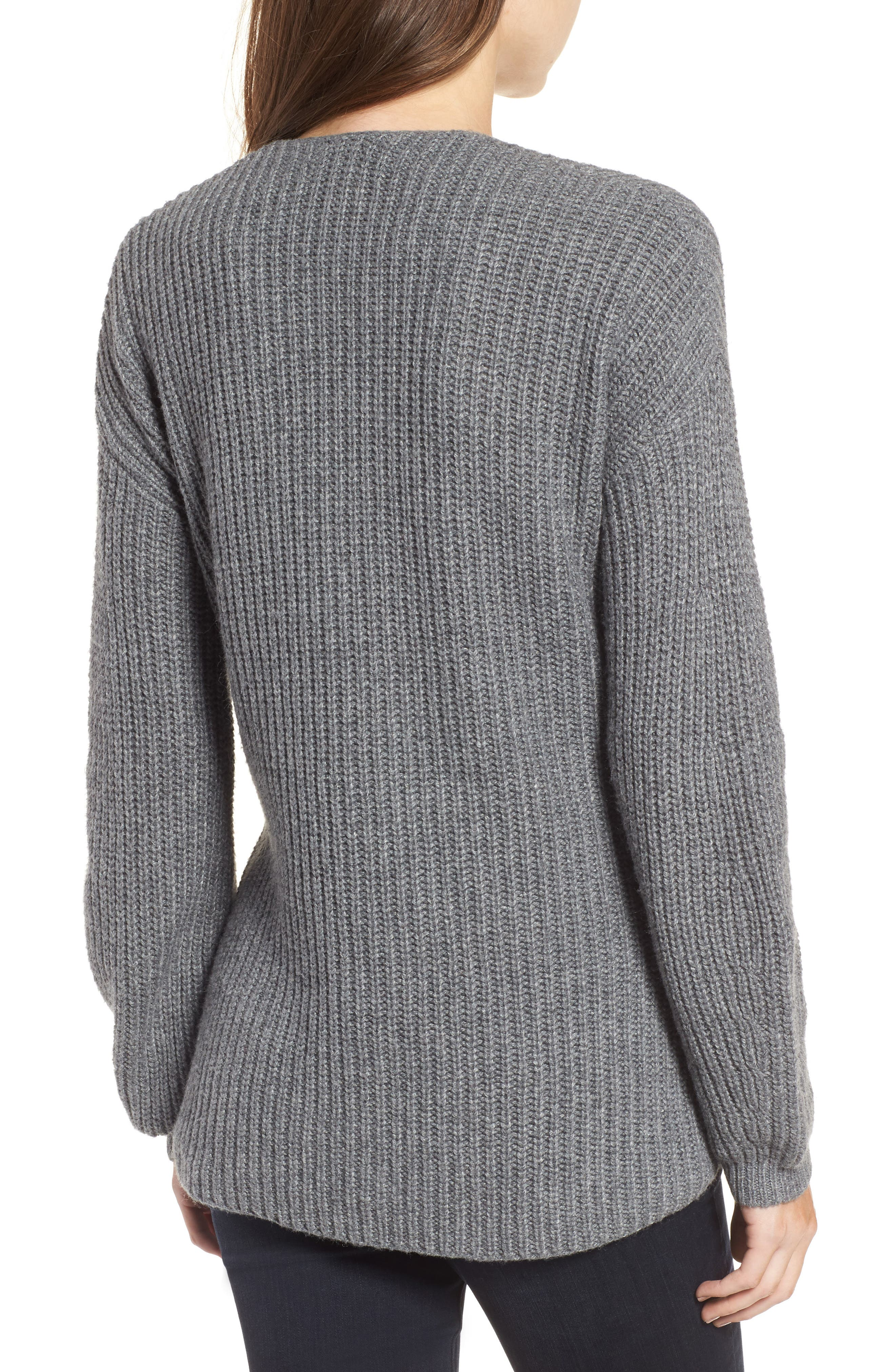 Twist Front Sweater,                             Alternate thumbnail 2, color,                             Grey Dark Heather