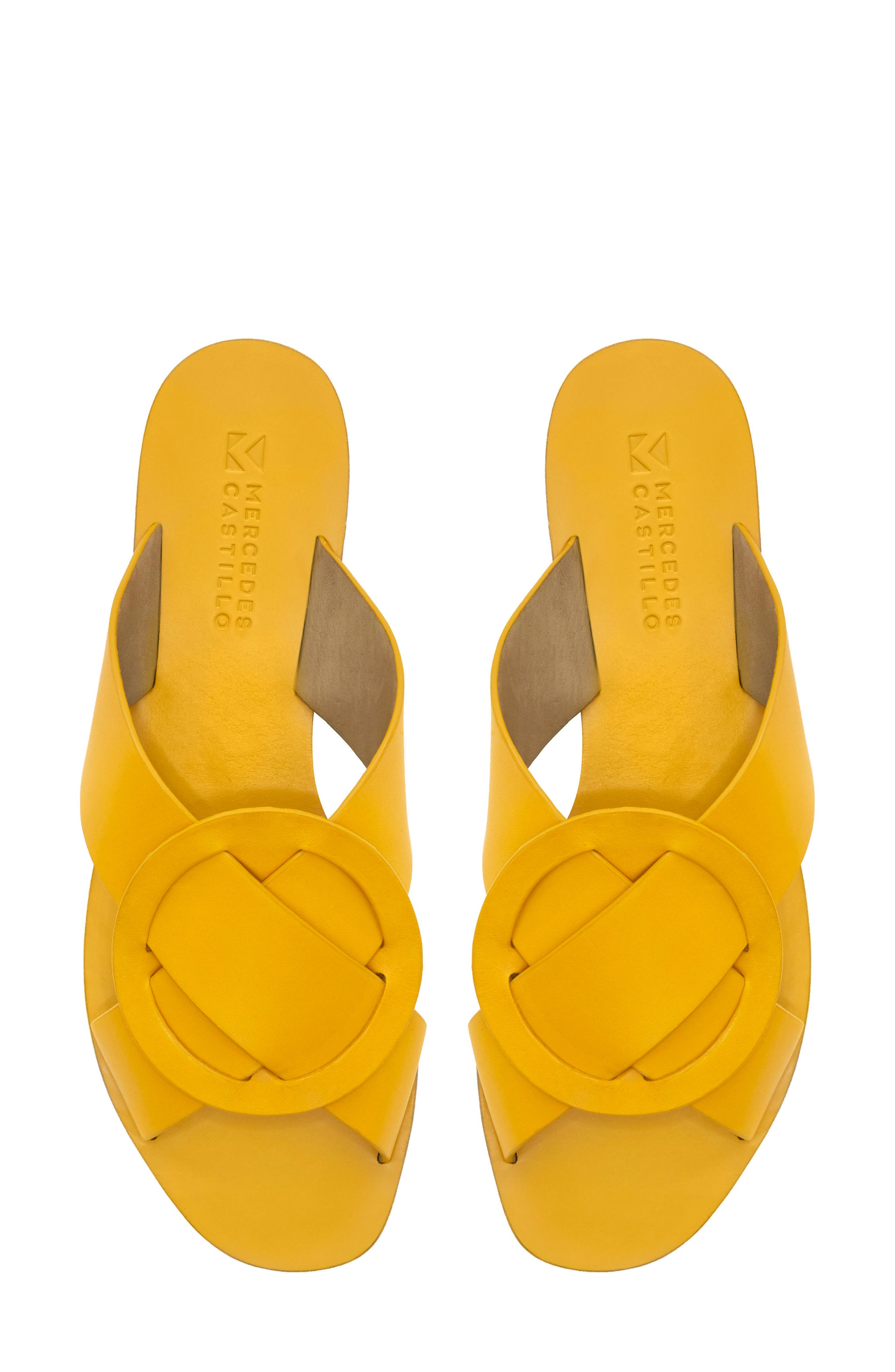 Carlein Slide Sandal,                             Alternate thumbnail 7, color,                             Mustard Leather