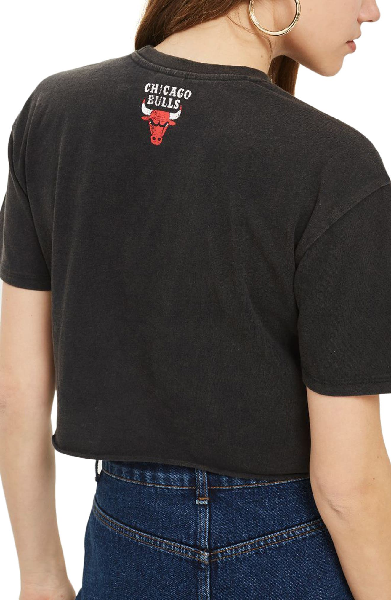 x UNK Bulls Crop Graphic Tee,                             Alternate thumbnail 3, color,                             Black Multi