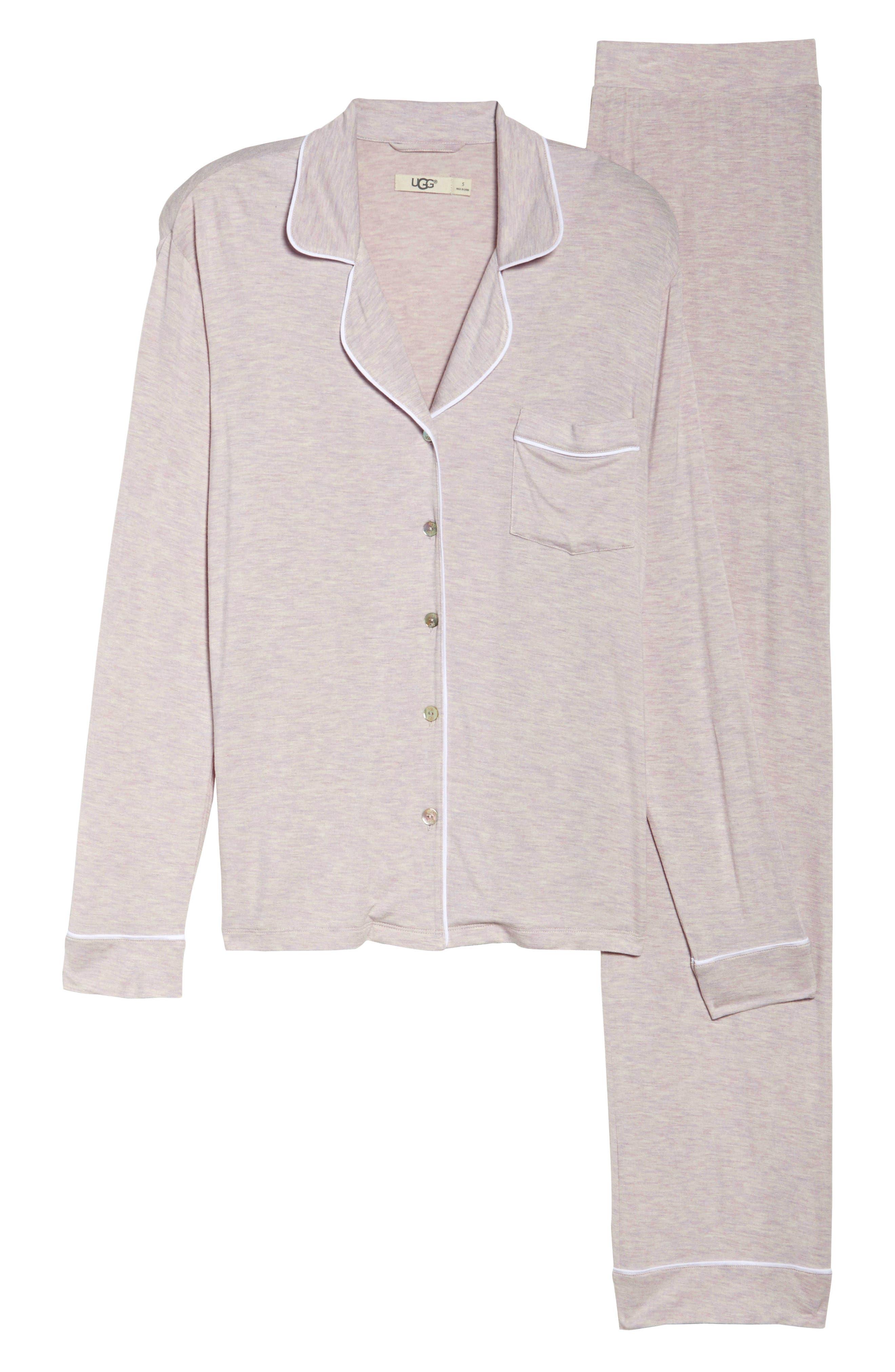 Lenon Jersey Pajamas,                             Alternate thumbnail 4, color,                             Lavender Fog Heather