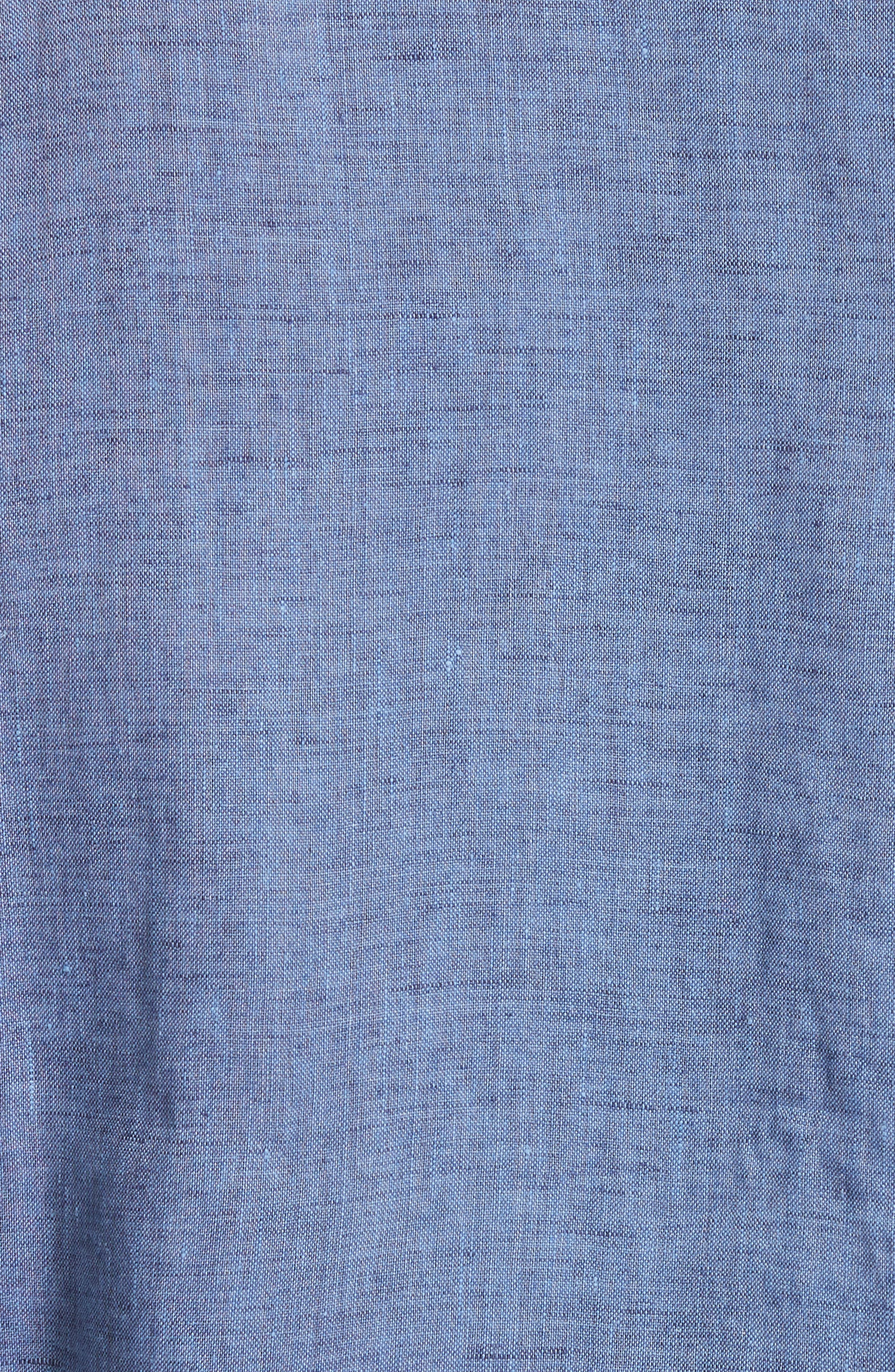 Slim Fit Linen Sport Shirt,                             Alternate thumbnail 5, color,                             Med Blue