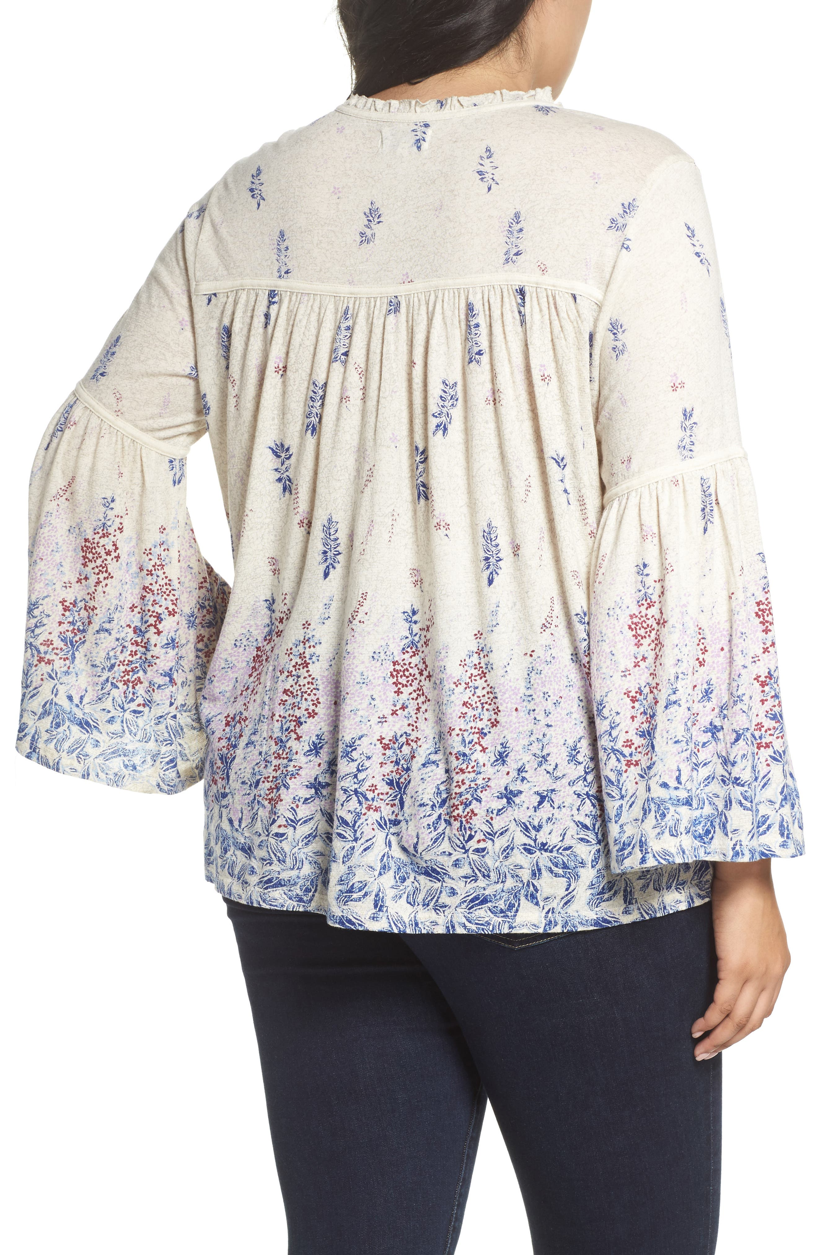 Alternate Image 2  - Lucky Brand Border Print Peasant Blouse (Plus Size)