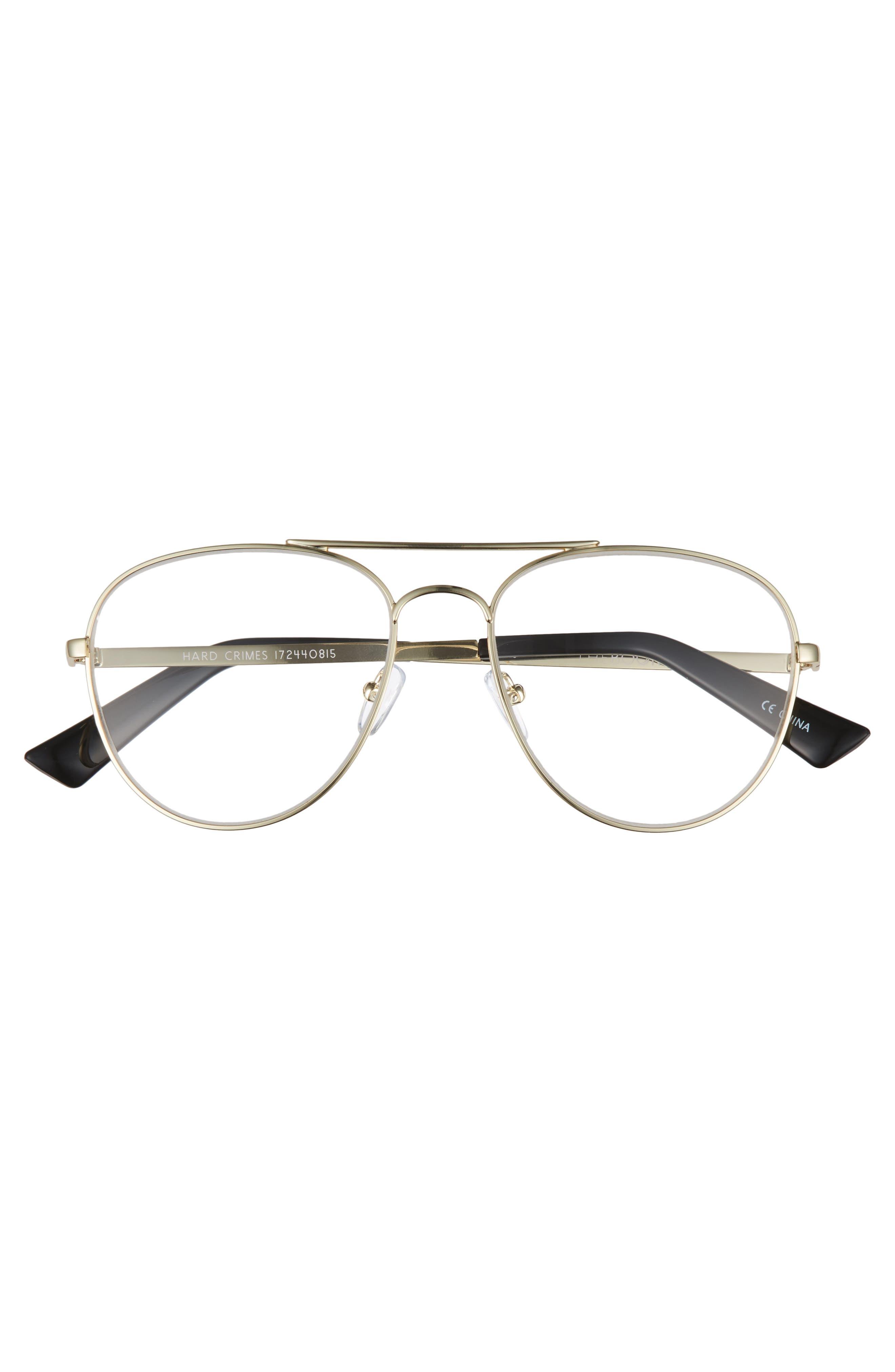 Hard Crimes 55mm Aviator Reading Glasses,                             Alternate thumbnail 3, color,                             Gold/ Black Marker