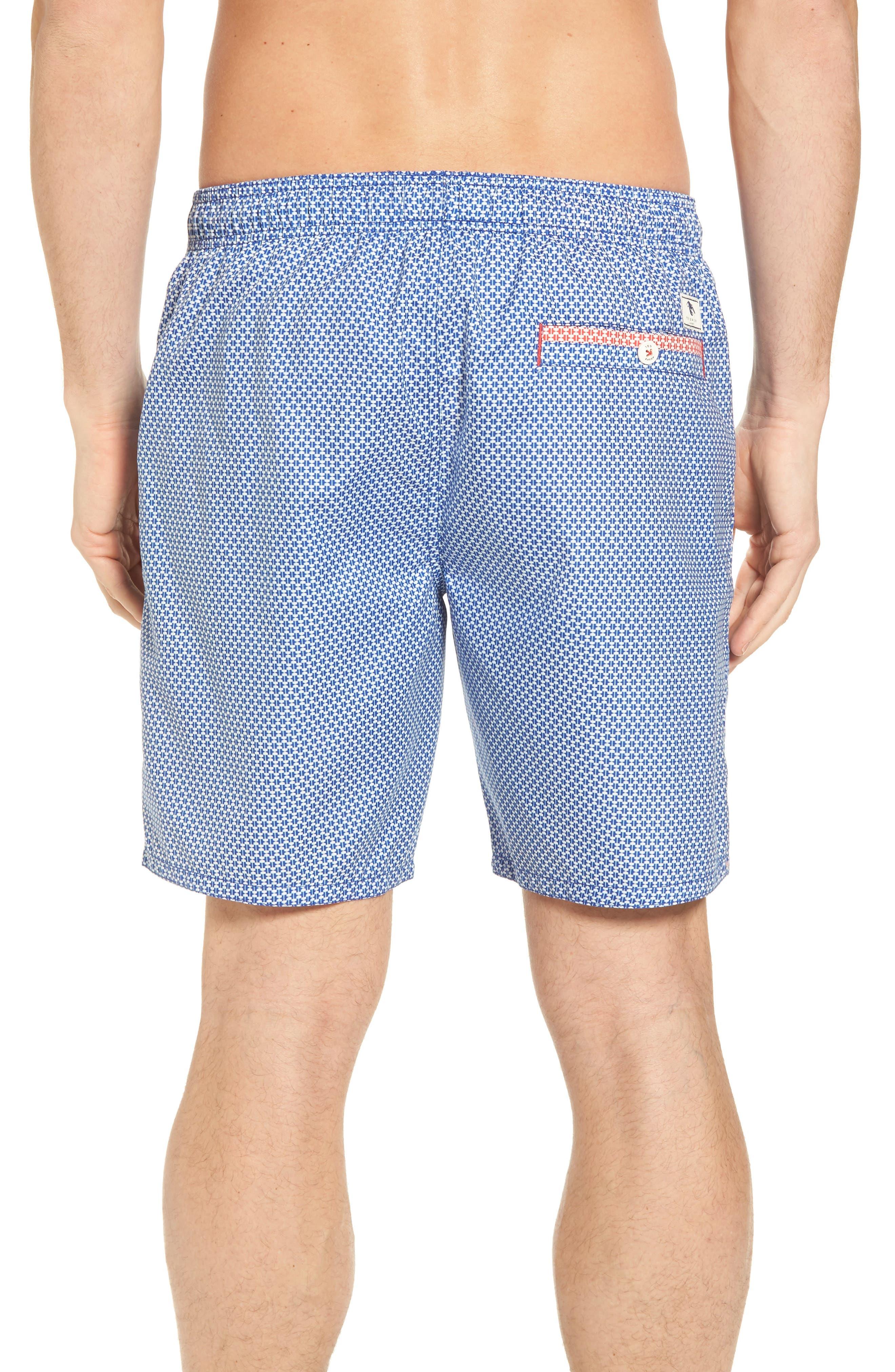 Larkman Geo Print Swim Shorts,                             Alternate thumbnail 2, color,                             Light Blue