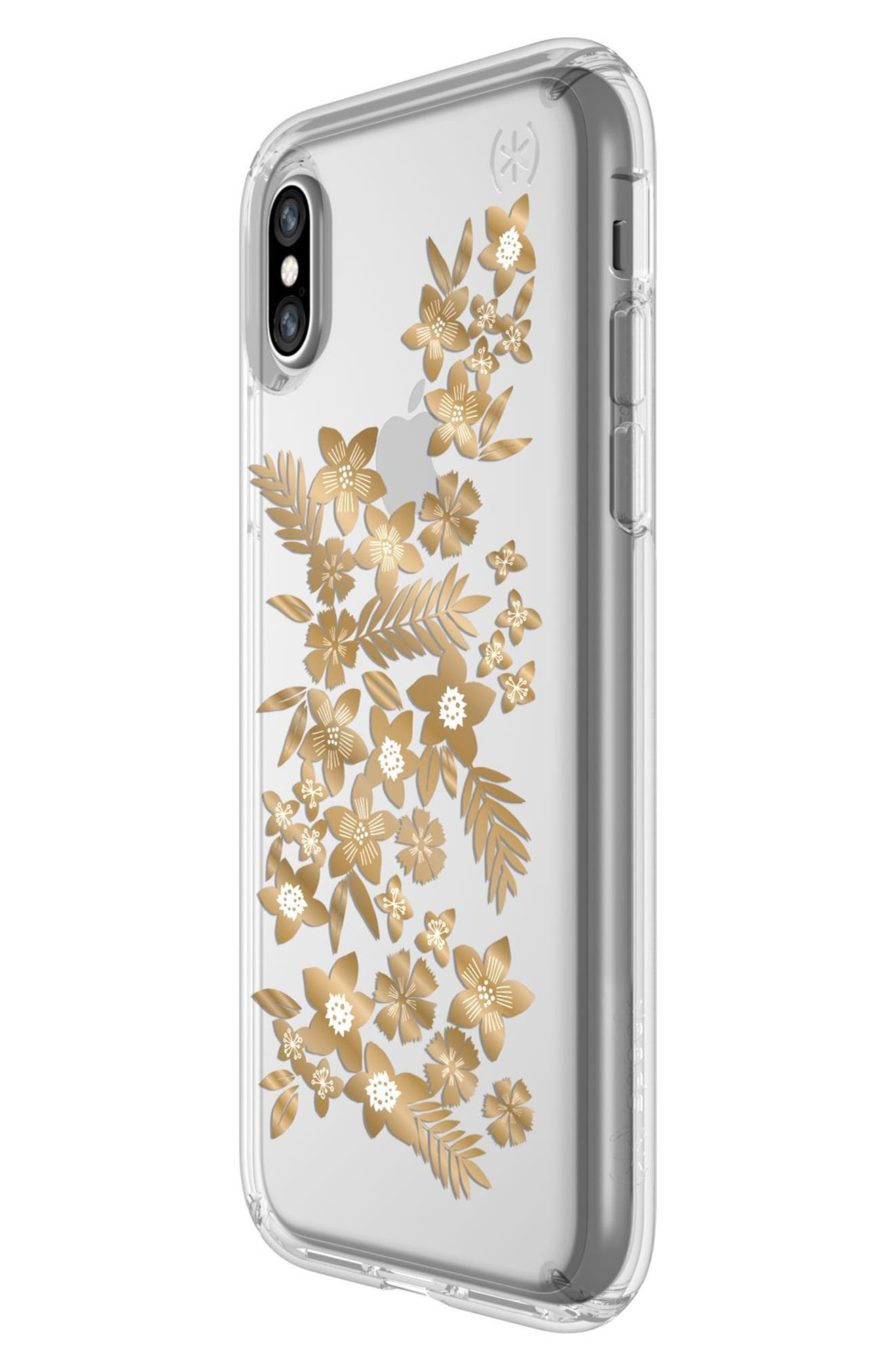 Shimmer Metallic Floral Transparent iPhone X Case,                             Alternate thumbnail 3, color,                             Shimmer Floral Metallic/ Clear