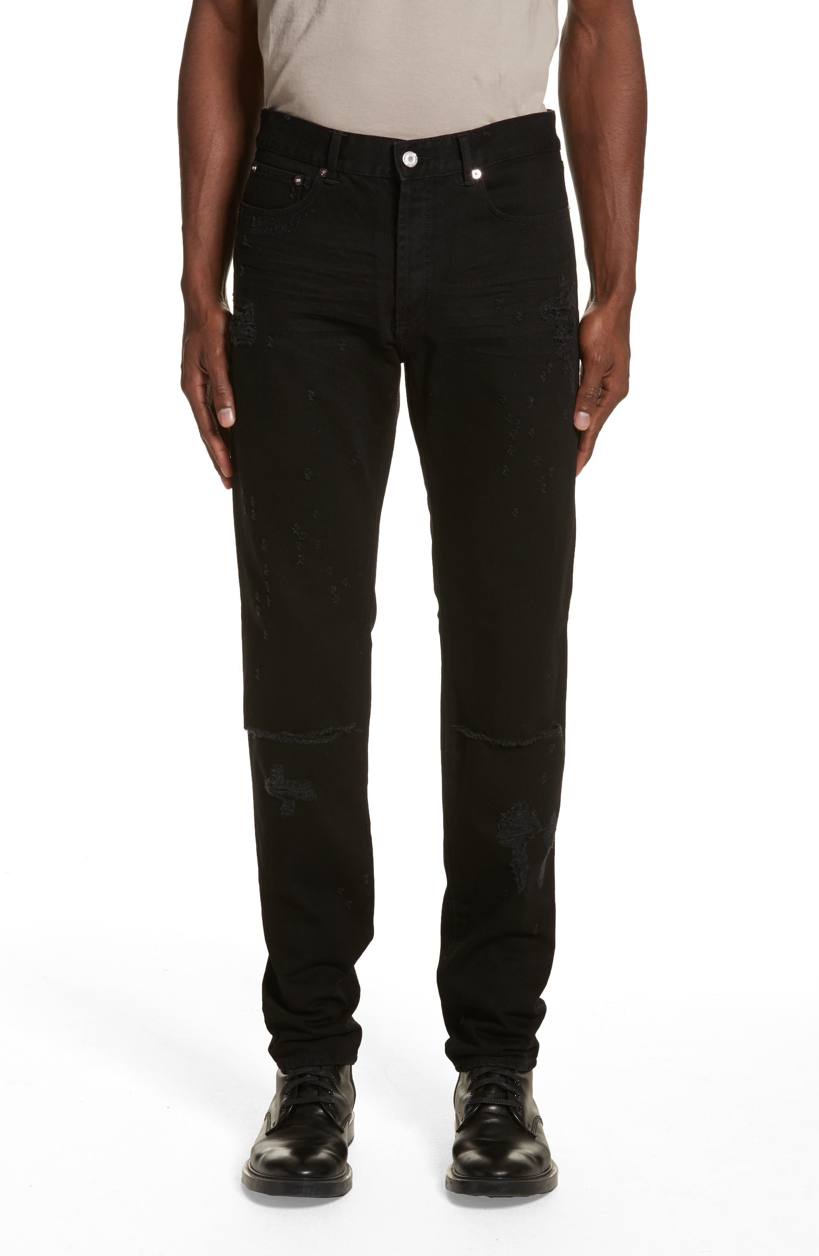 Destroyed Slim Fit Jeans,                             Main thumbnail 1, color,                             Black