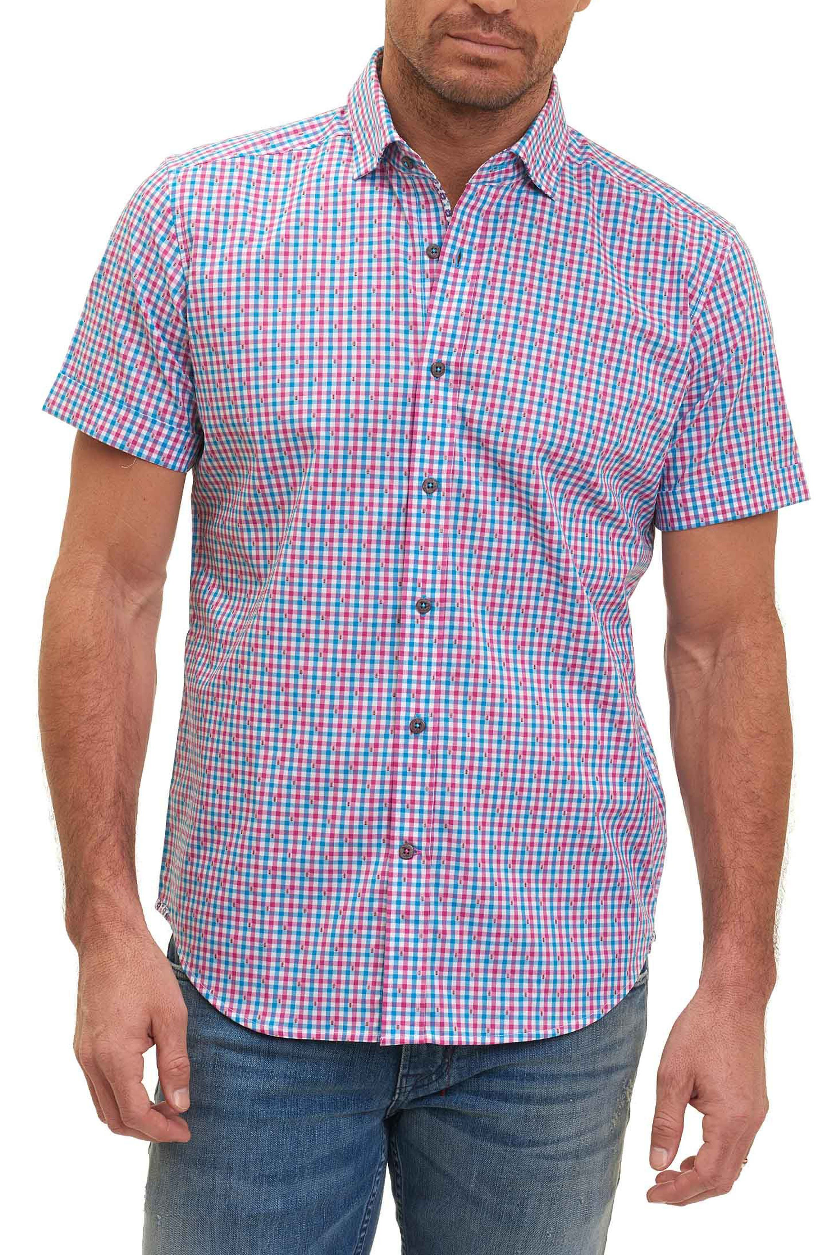 Makai Tailored Fit Gingham Sport Shirt,                             Main thumbnail 1, color,                             Berry