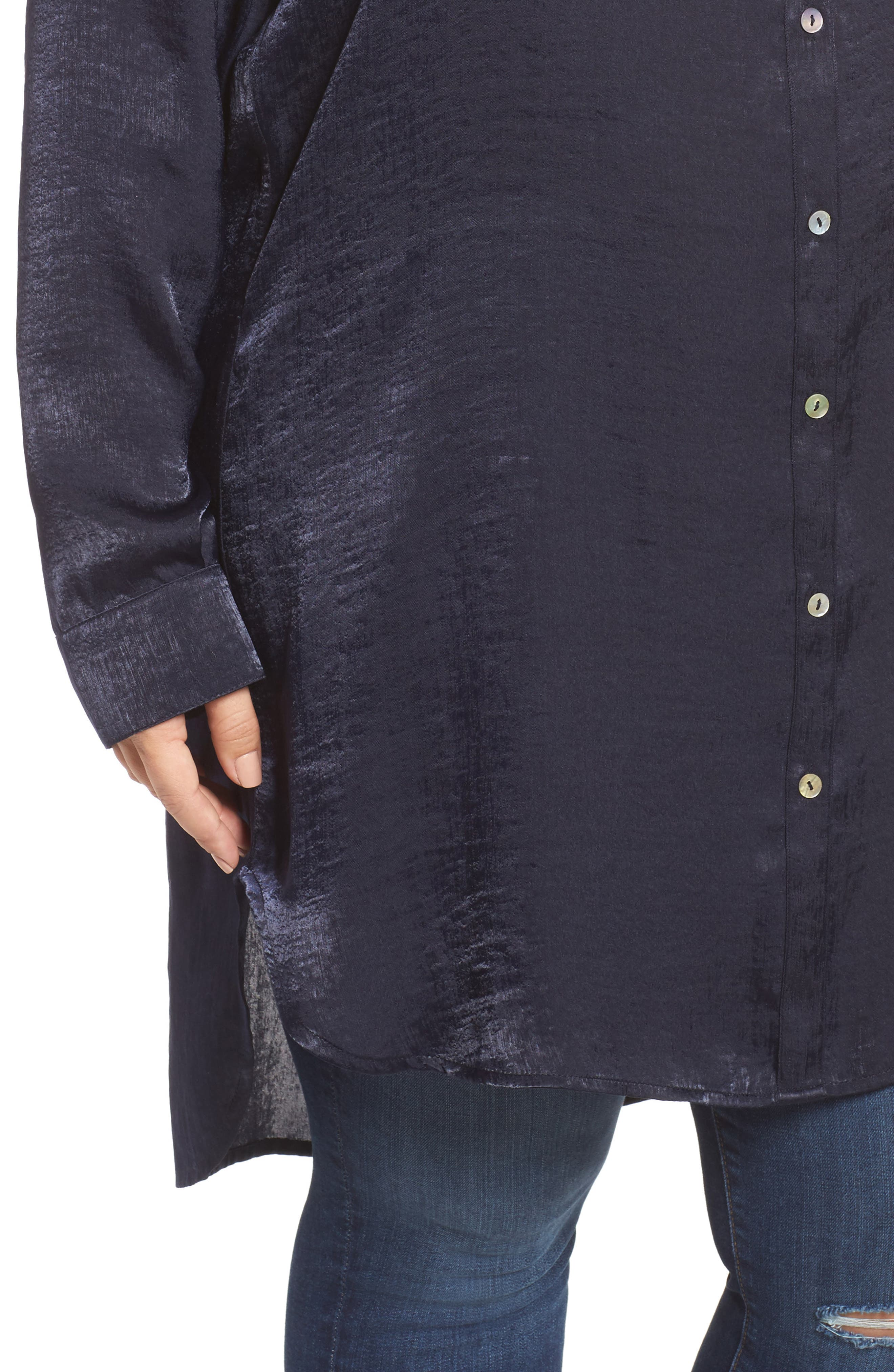 Alternate Image 4  - SLINK Jeans Hammered Satin Tunic Shirt (Plus Size)