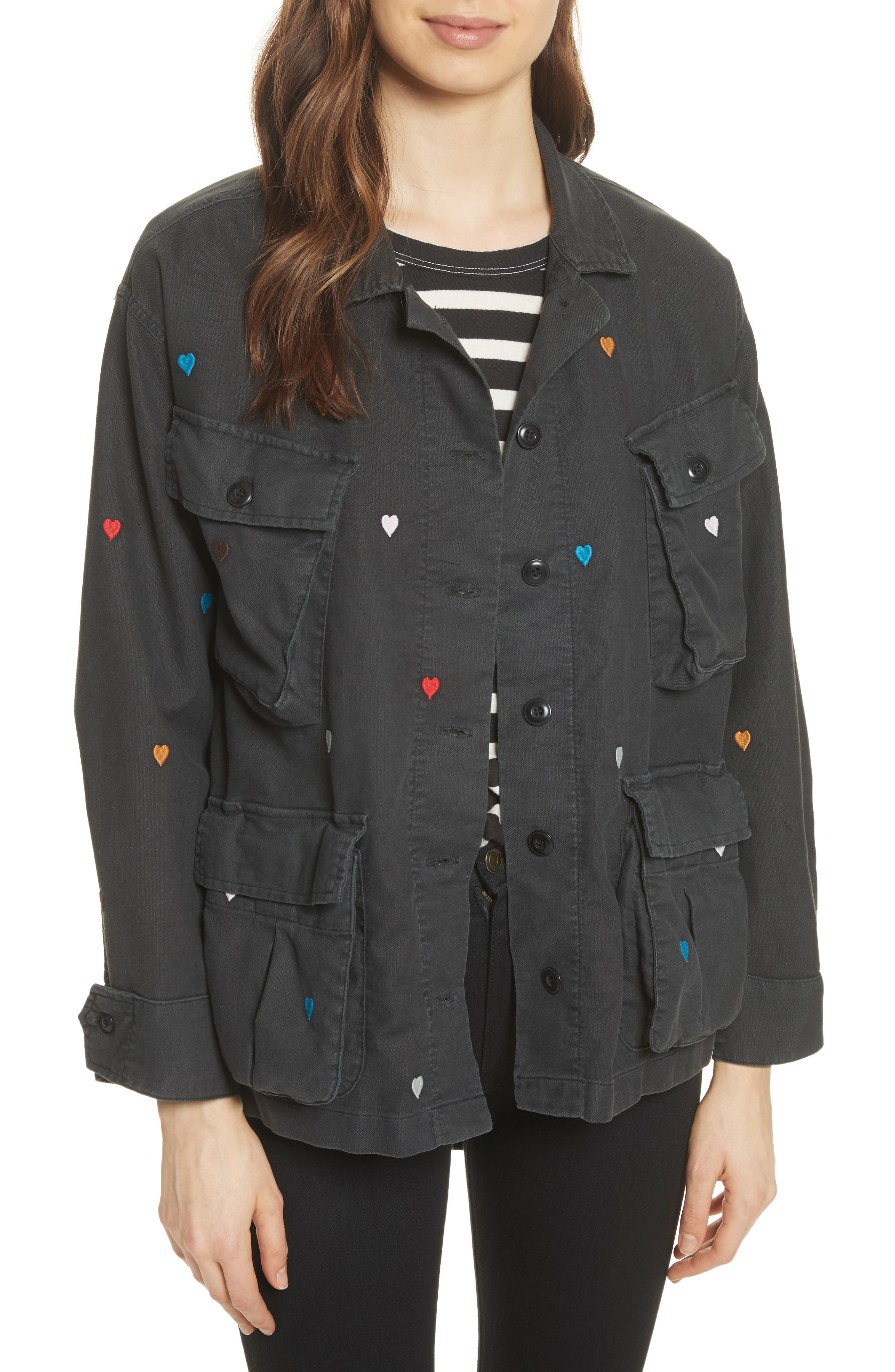 The Commander Embroidered Jacket,                         Main,                         color, Black/ Heart Embroidery