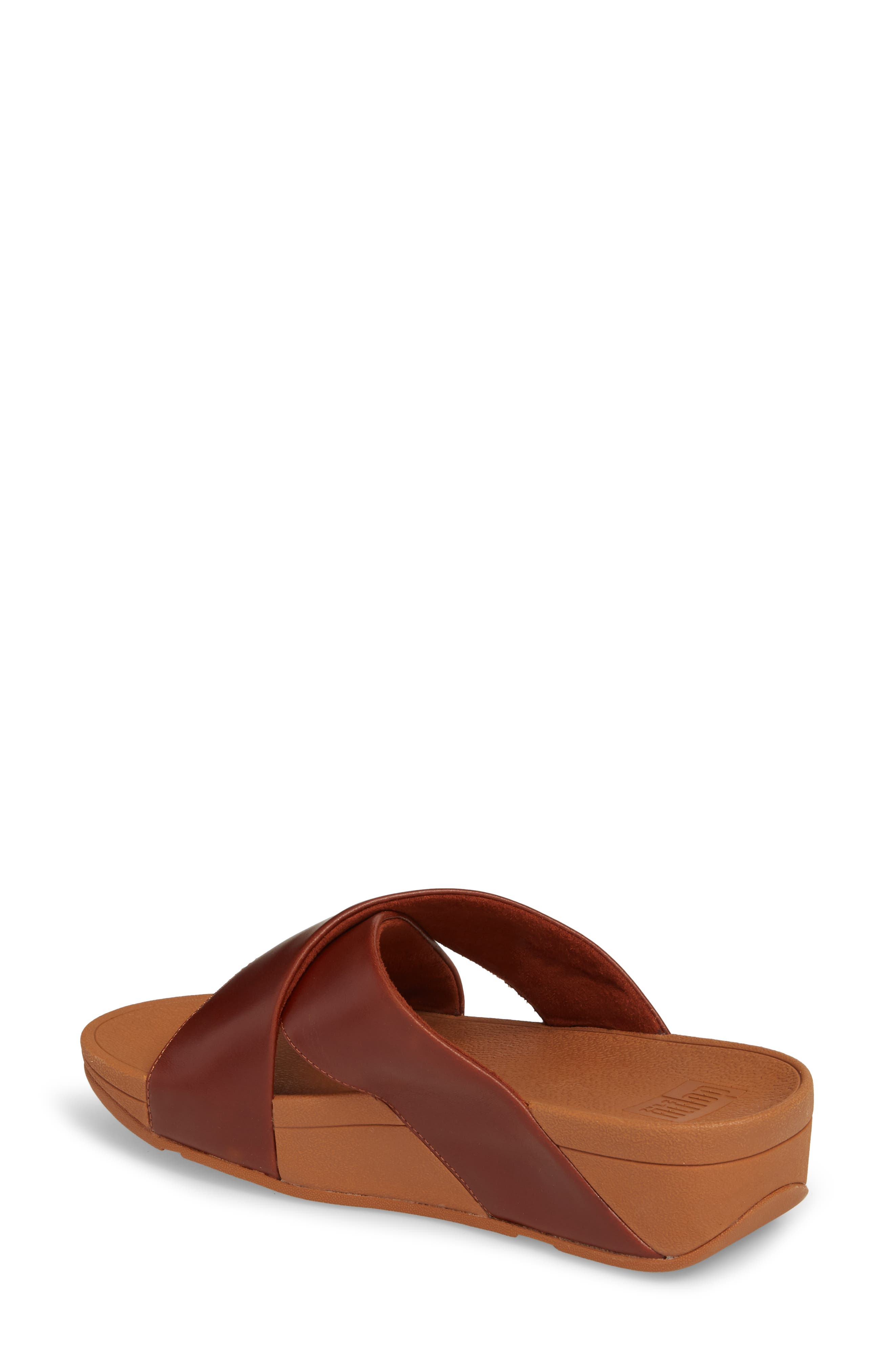 Lulu Cross Slide Sandal,                             Alternate thumbnail 2, color,                             Cognac