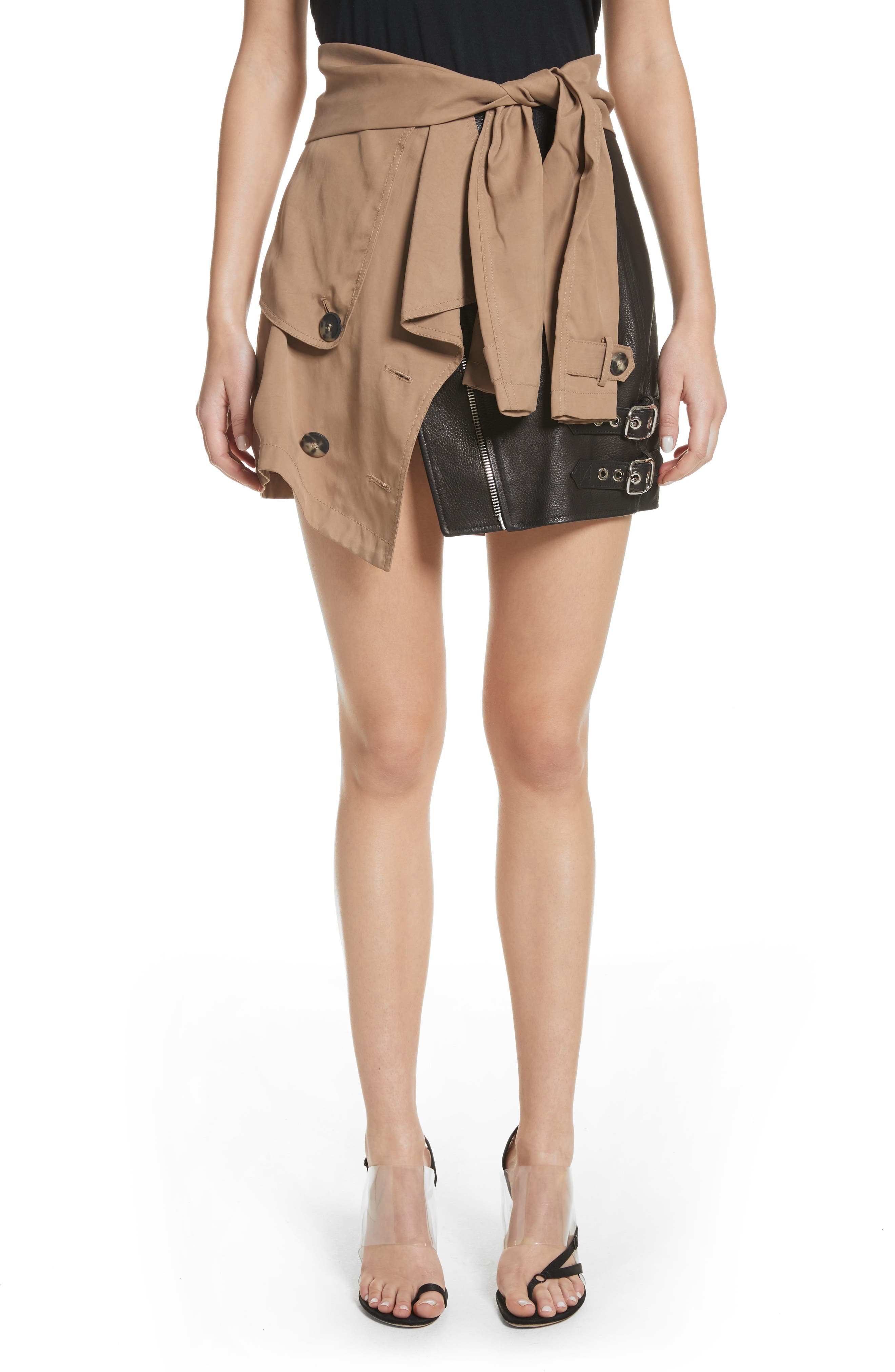 Trench Combo Leather Miniskirt,                             Main thumbnail 1, color,                             Sable