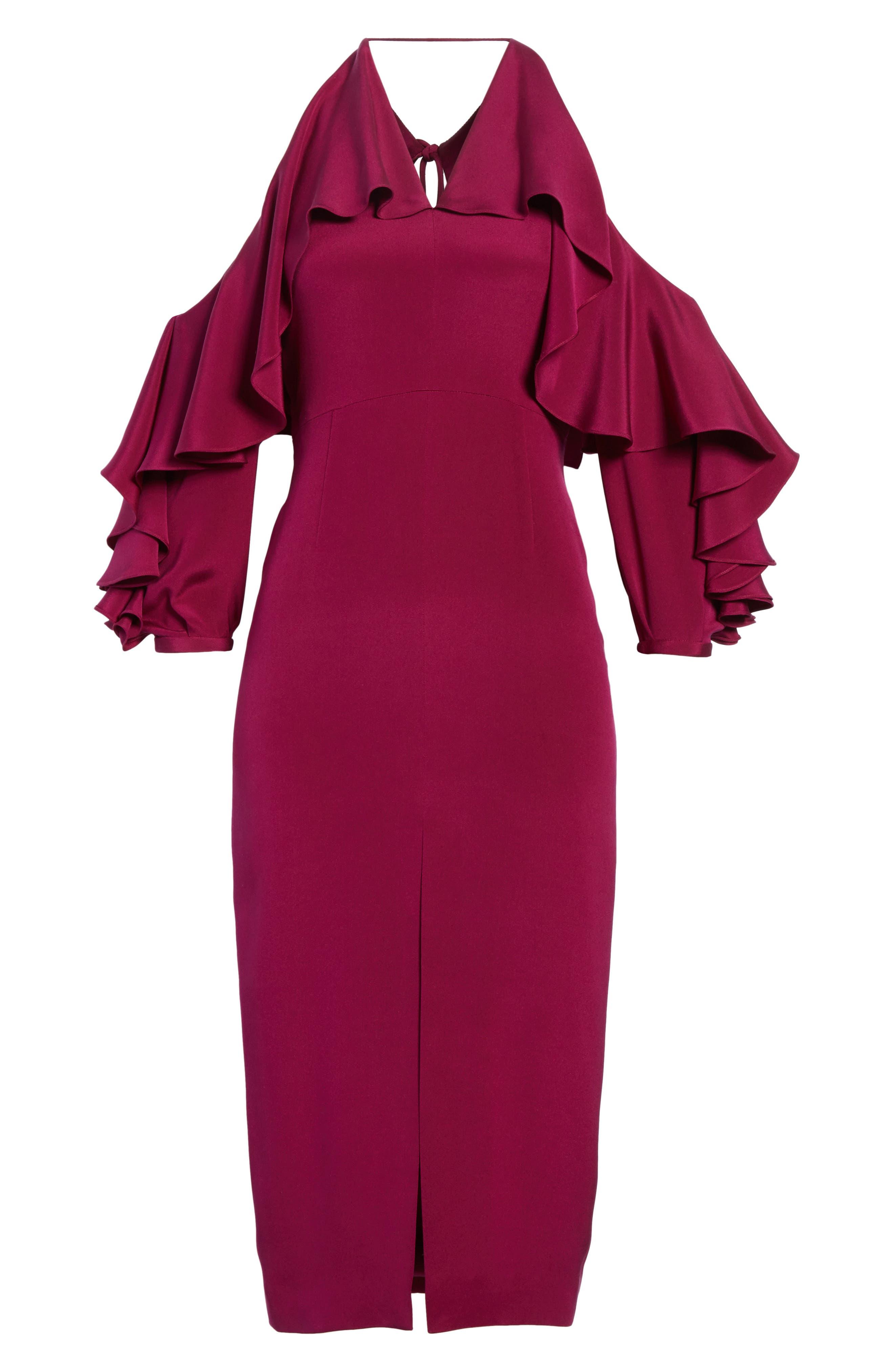 Cold Shoulder Ruffle Silk Sheath Dress,                             Alternate thumbnail 6, color,                             Dahlia