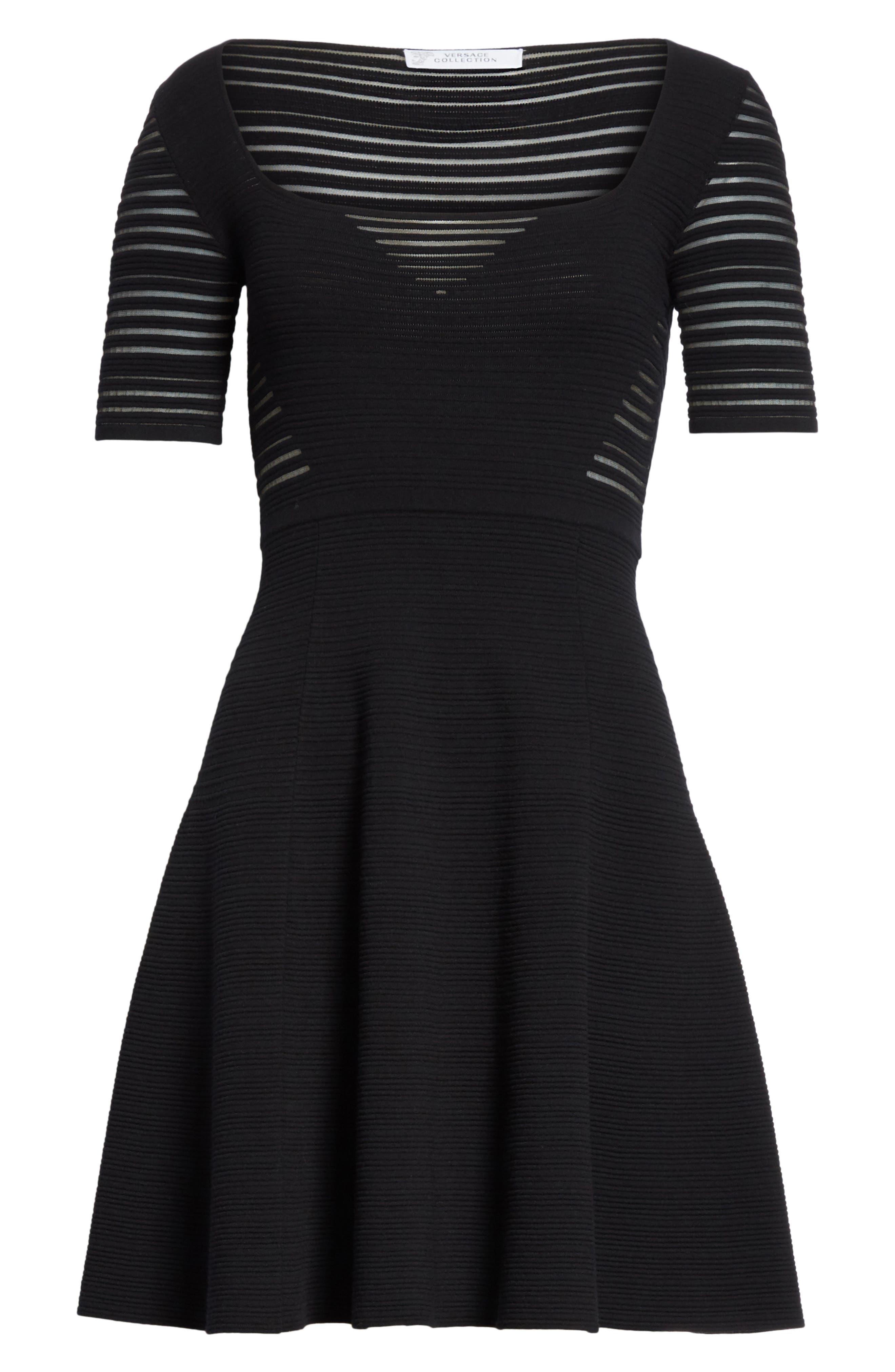 Stripe Knit A-Line Dress,                             Alternate thumbnail 6, color,                             Black