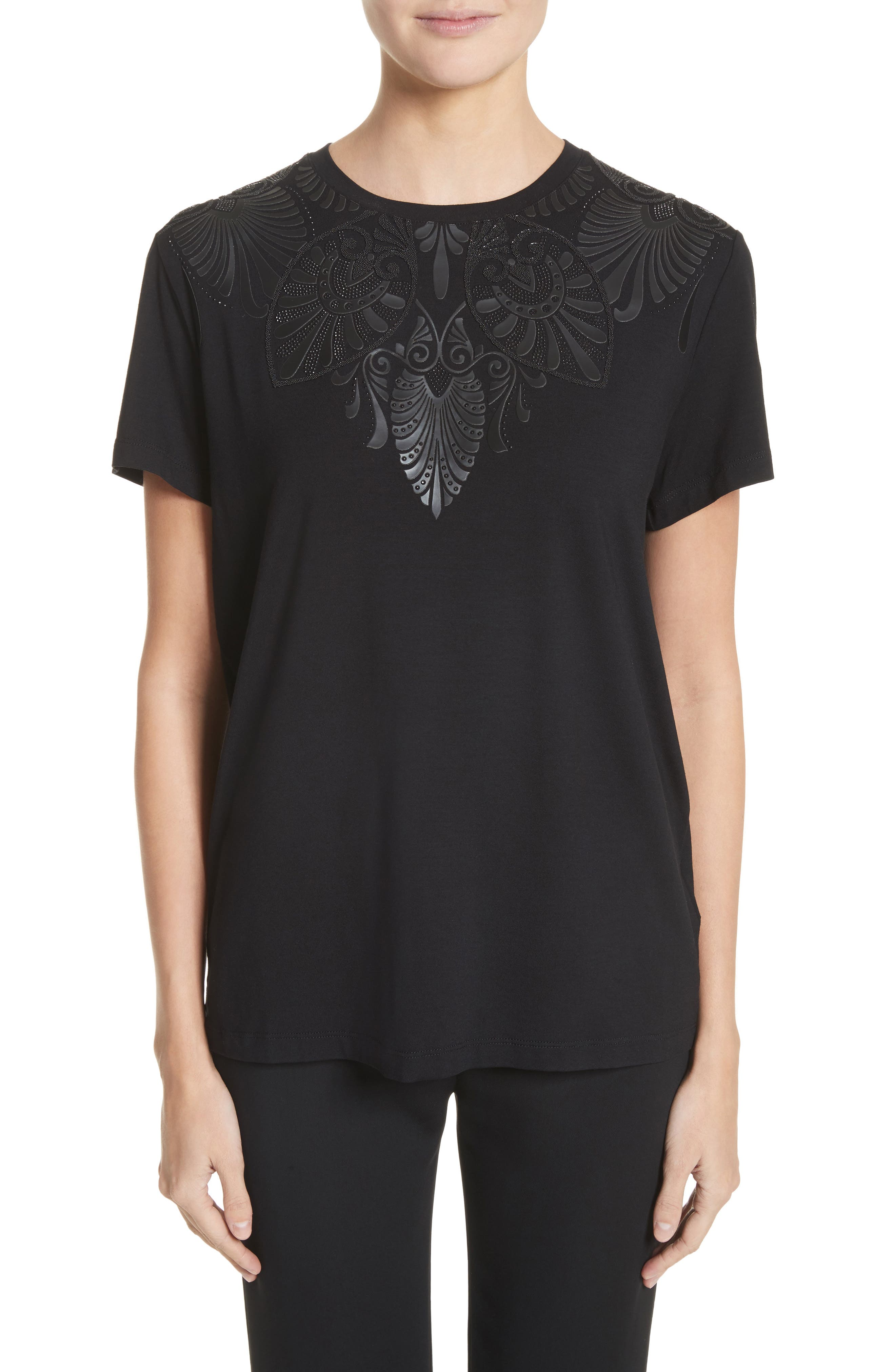 Beaded Jersey Tee,                         Main,                         color, Black