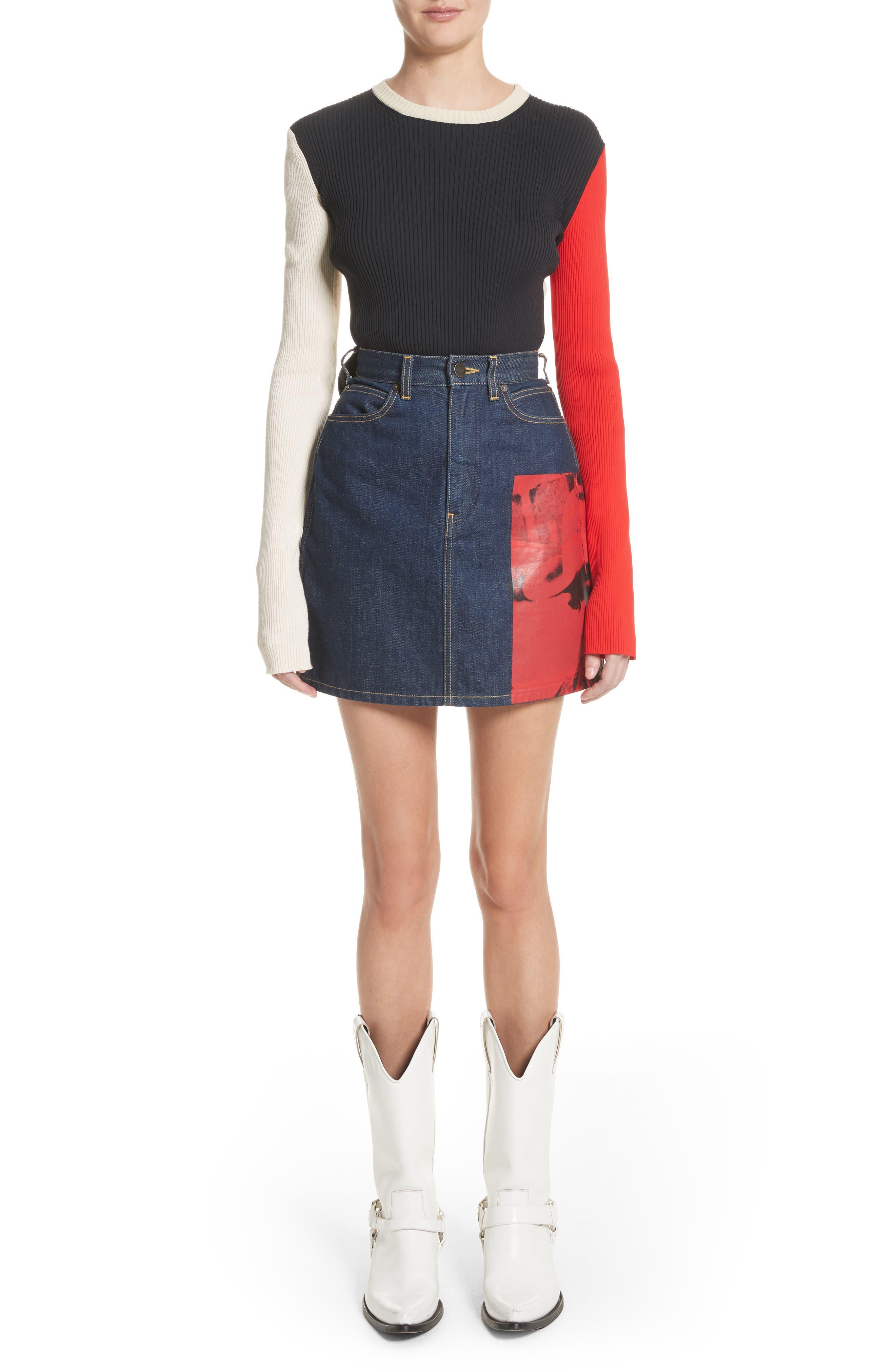 Alternate Image 2  - CALVIN KLEIN 205W39NYC x Andy Warhol Foundation Dennis Hopper Denim Skirt