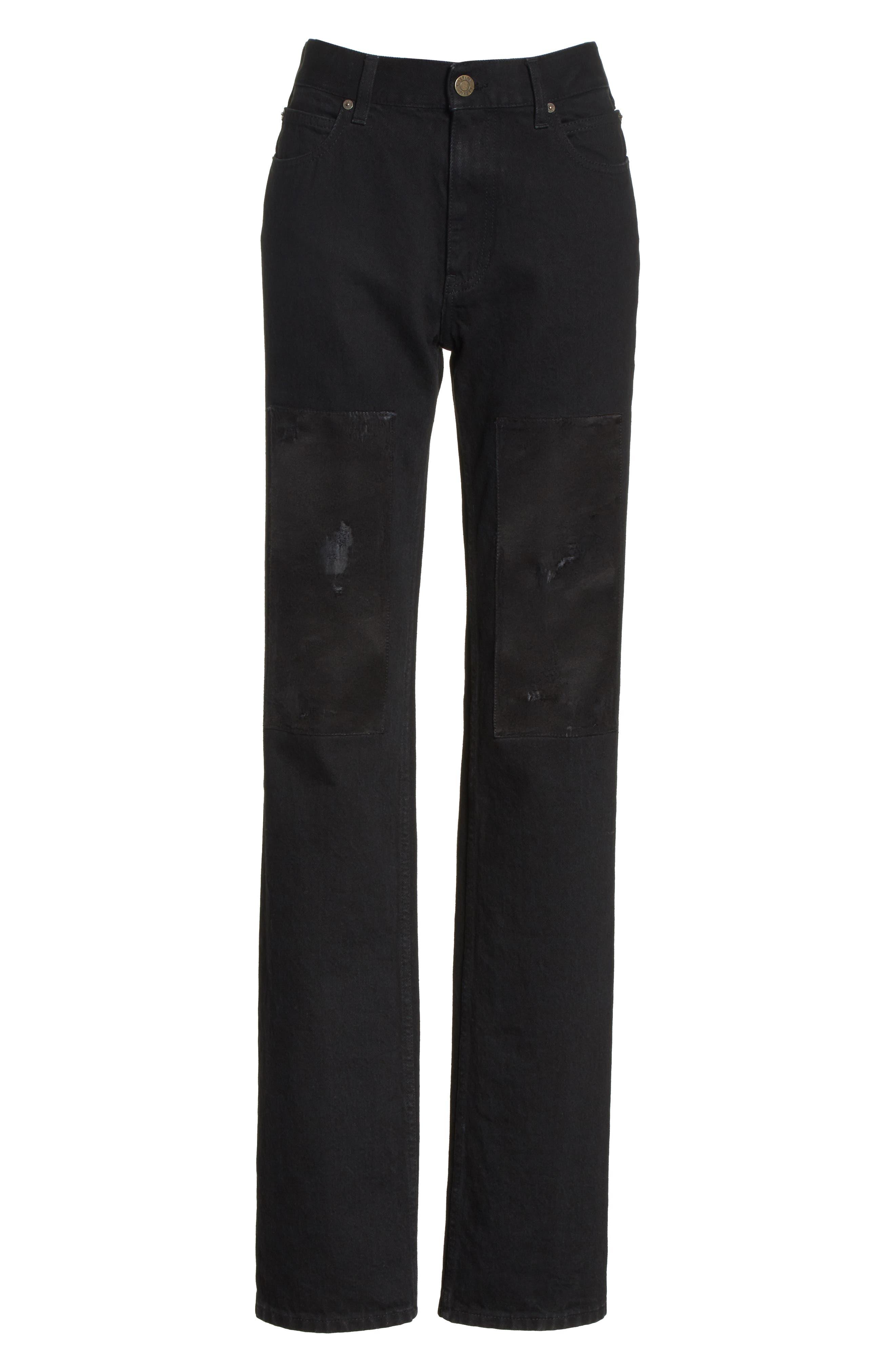 Silk Knee Patch Straight Leg Jeans,                             Alternate thumbnail 8, color,                             Black