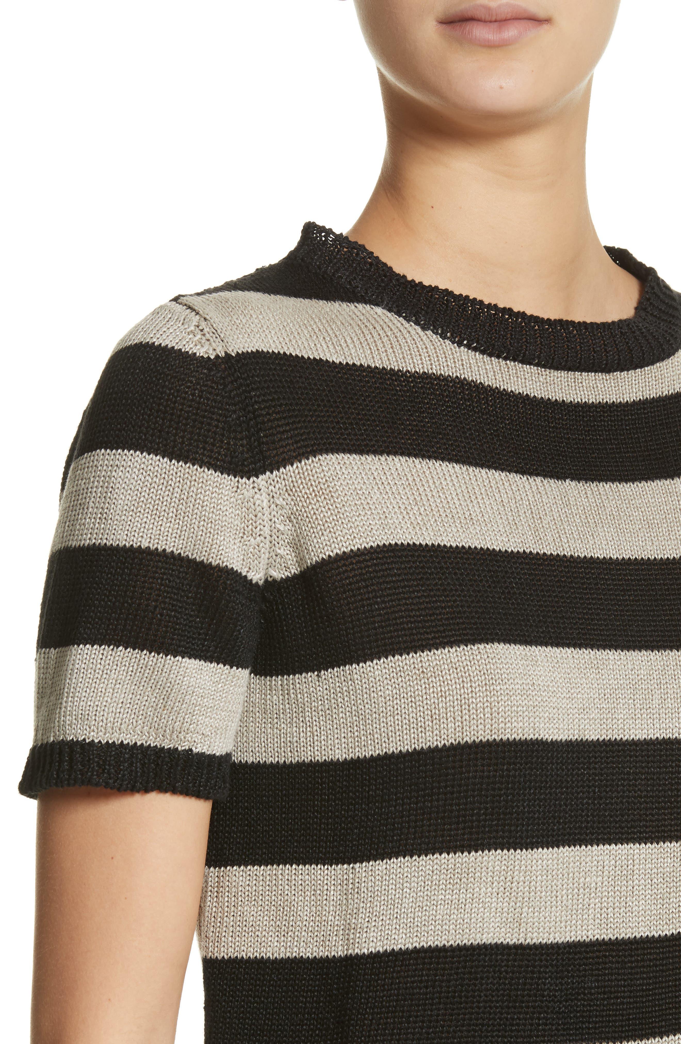 Filly Stripe Linen Sweater,                             Alternate thumbnail 4, color,                             Sand