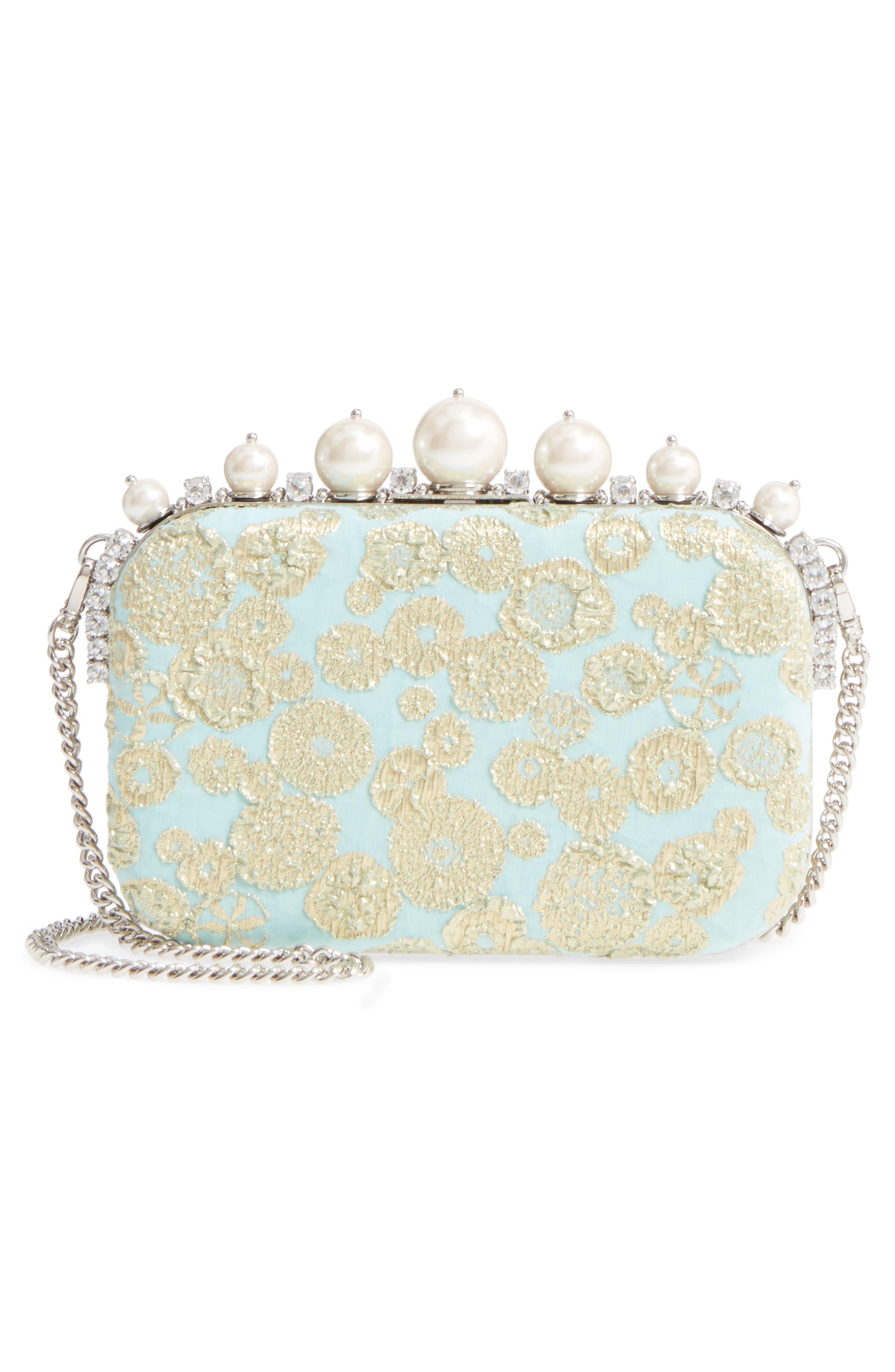 Imitation Pearl & Metallic Brocade Shoulder Bag,                             Alternate thumbnail 3, color,                             Clorofilla